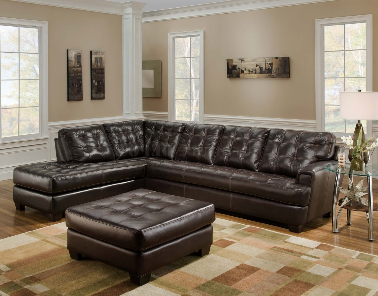 Dark Brown Leather Tufted Sectional Chaise Lounge Sofa With In Best And Newest Leather Sectionals With Ottoman (View 10 of 15)