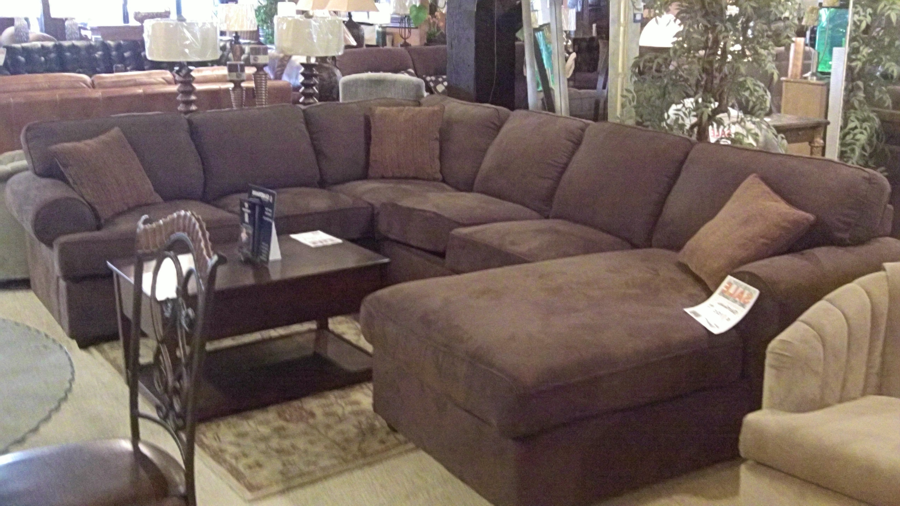 Dark Brown Velvet Sectional Couch Which Furnished With Chaise Regarding Best And Newest Sectionals With Chaise Lounge (View 10 of 15)