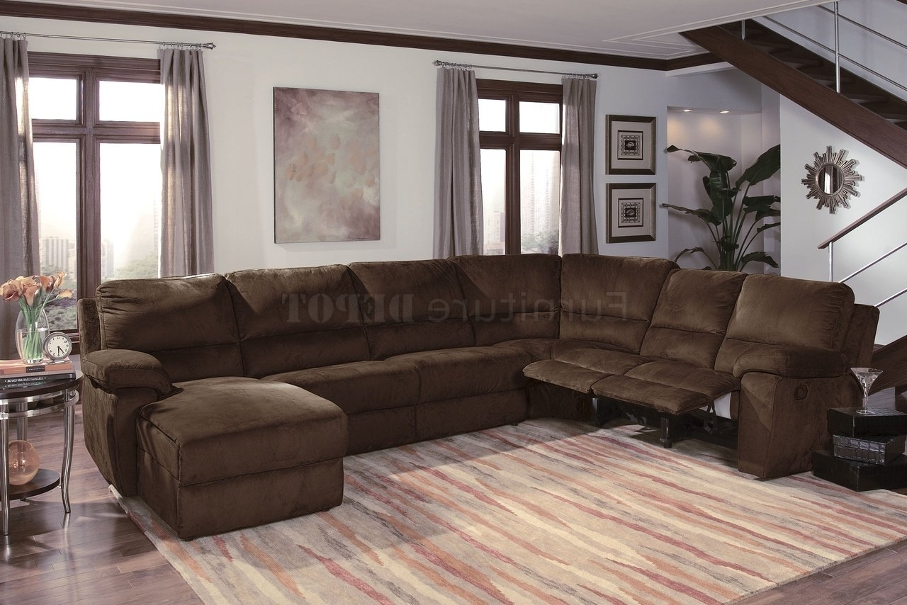 Dark Chocalate Micro Suede Throughout Reclining Sectional Sofas (View 4 of 15)