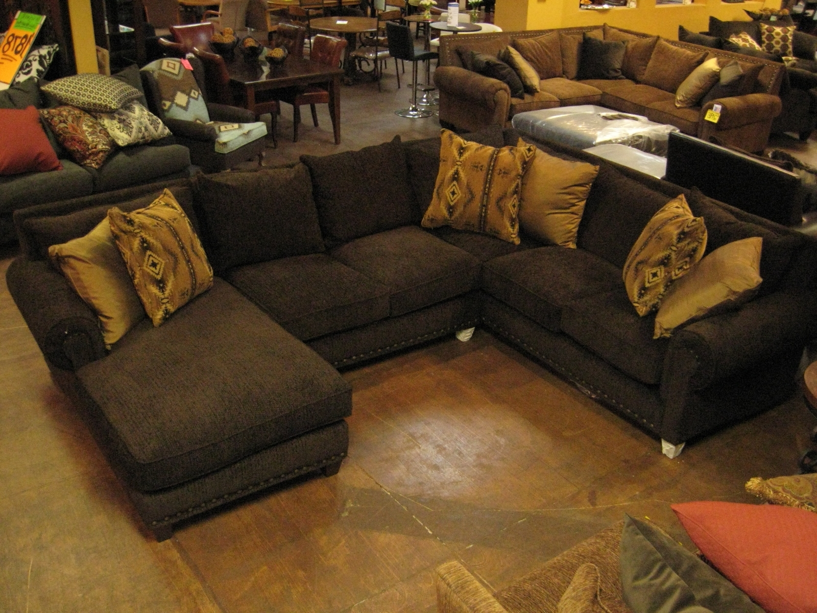 Dark Espresso Deep Seated Sofa From Velvet Fabric And Six Accent Pertaining To Recent Deep Seat Sectionals With Chaise (View 15 of 15)