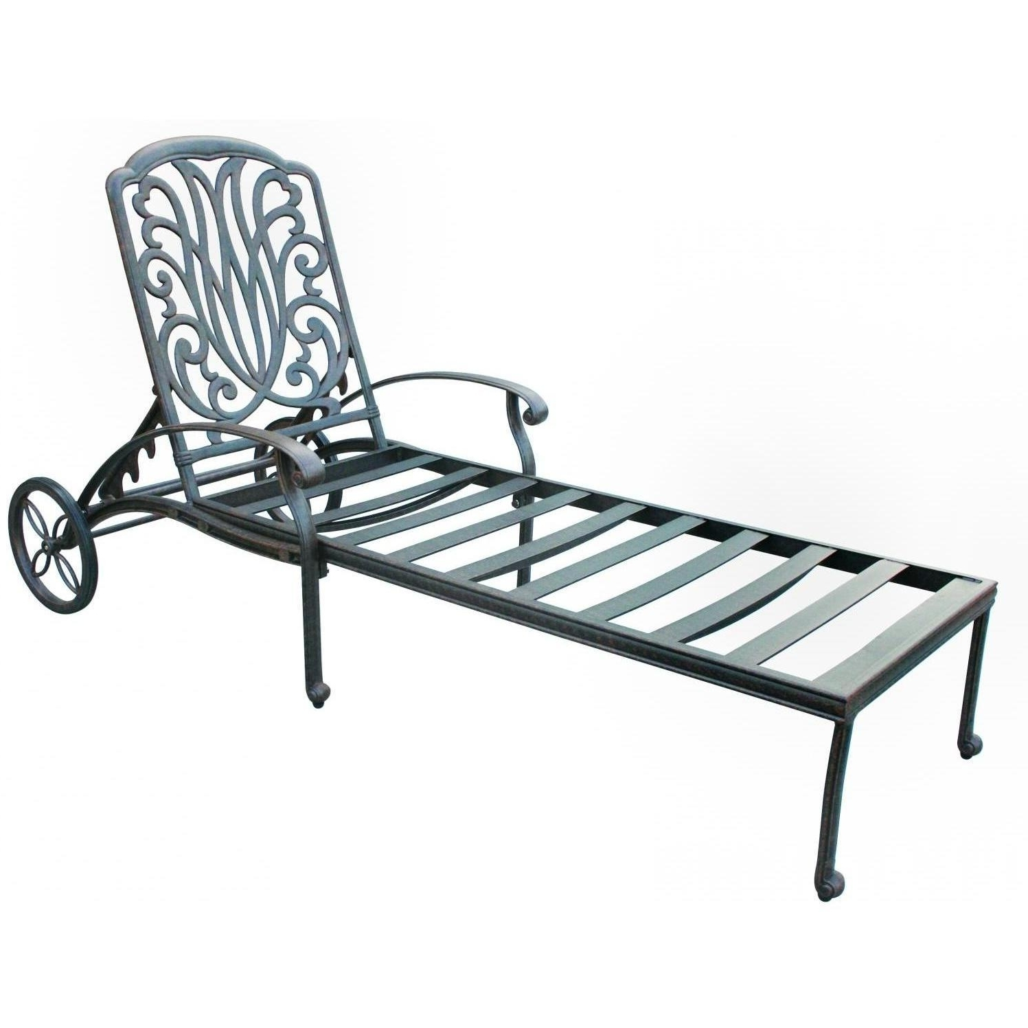 Darlee Elisabeth Cast Aluminum Patio Chaise Lounge : Ultimate Patio Regarding Most Current Cast Aluminum Chaise Lounges With Wheels (View 10 of 15)