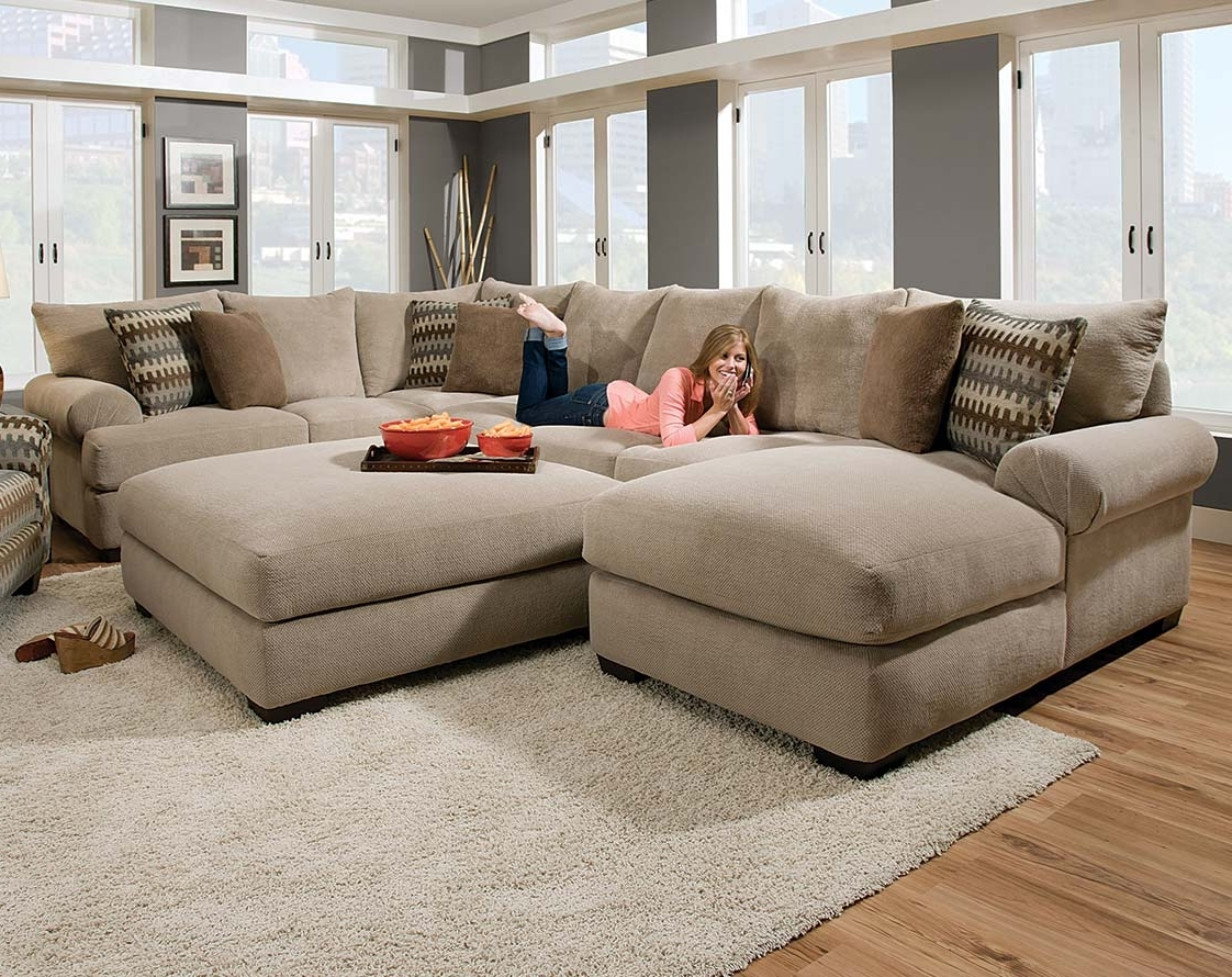 Dayton Ohio Sectional Sofas For Trendy Tan Couch Set With Ottoman (View 4 of 15)