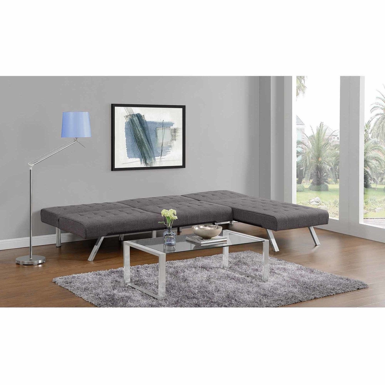 Dhp Emily Linen Chaise Lounger Gray Chair 2024429  (View 3 of 15)