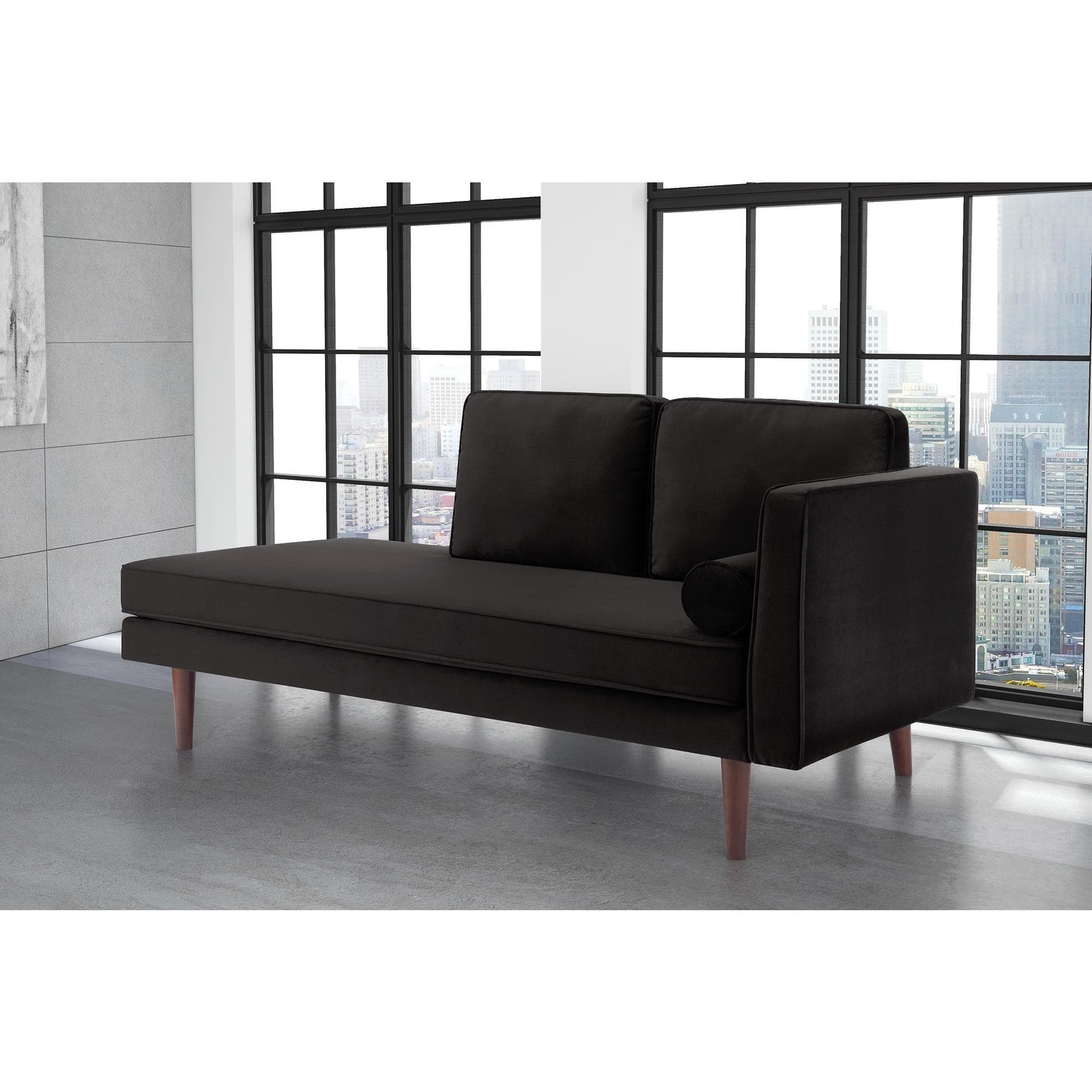 Dhp Nola Mid Century Modern Upholstered Black Velvet Daybed With Regard To 2018 Mid Century Modern Chaises (View 3 of 15)