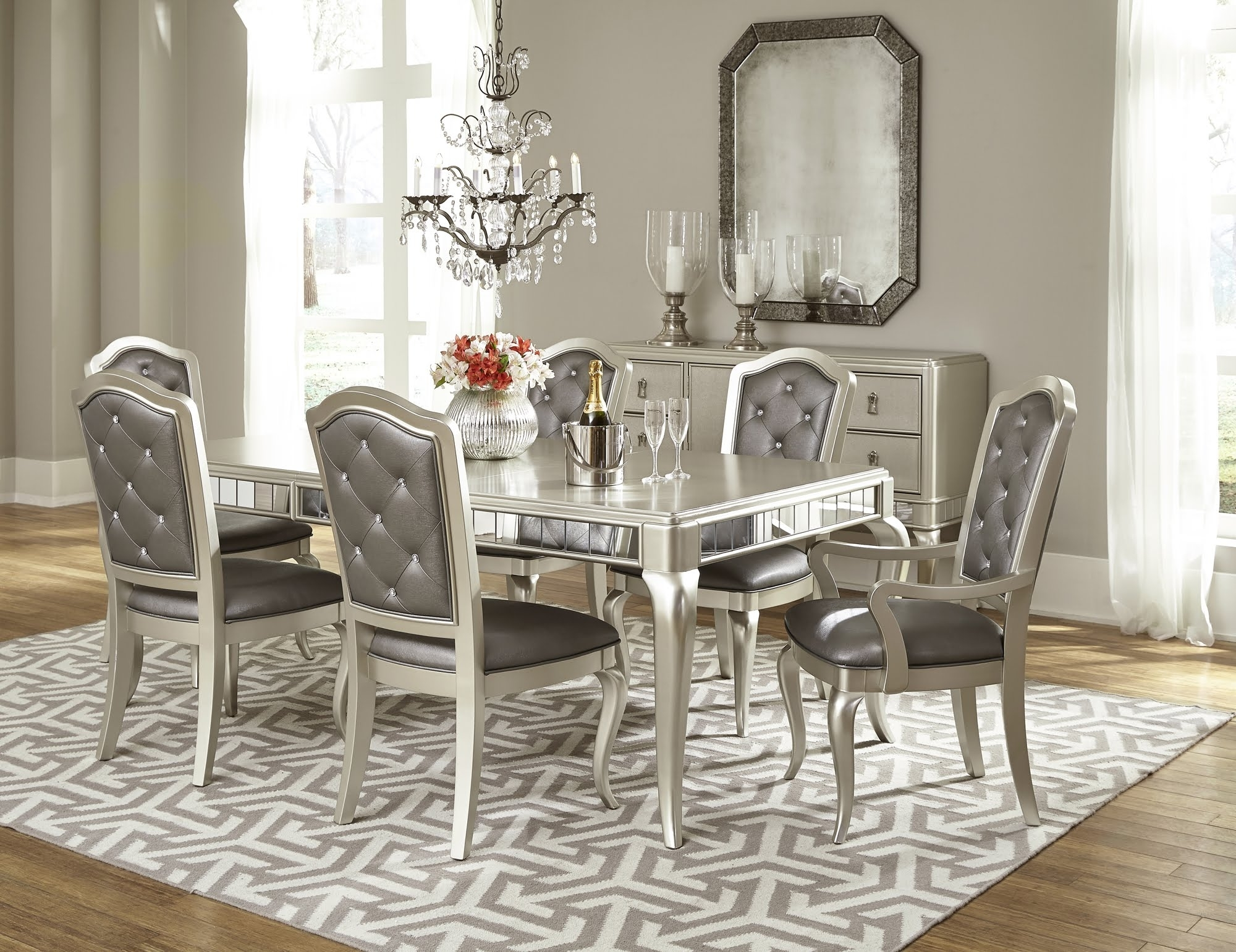 Diva Dining Room Set In Platinum Blingsamuel Lawrence Regarding Widely Used Sofa Chairs With Dining Table (View 3 of 15)