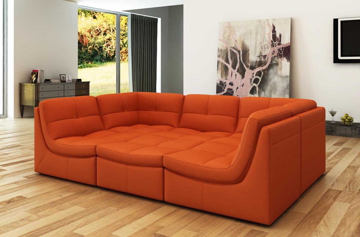Divani Casa 207 Modern Orange Bonded Leather Sectional Sofa For Latest Orange Sectional Sofas (View 6 of 15)