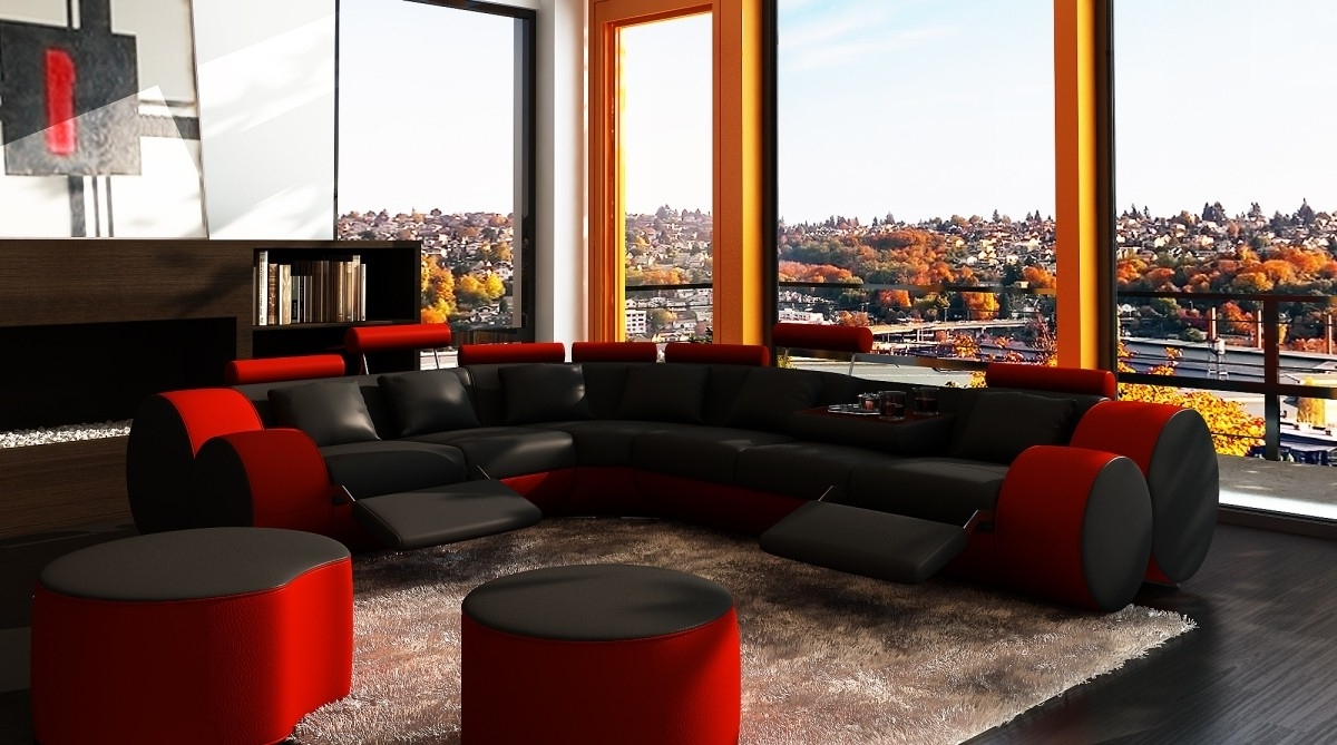 Divani Casa 3087 – Modern Black And Red Bonded Leather Sectional Inside Recent Red Black Sectional Sofas (View 4 of 15)