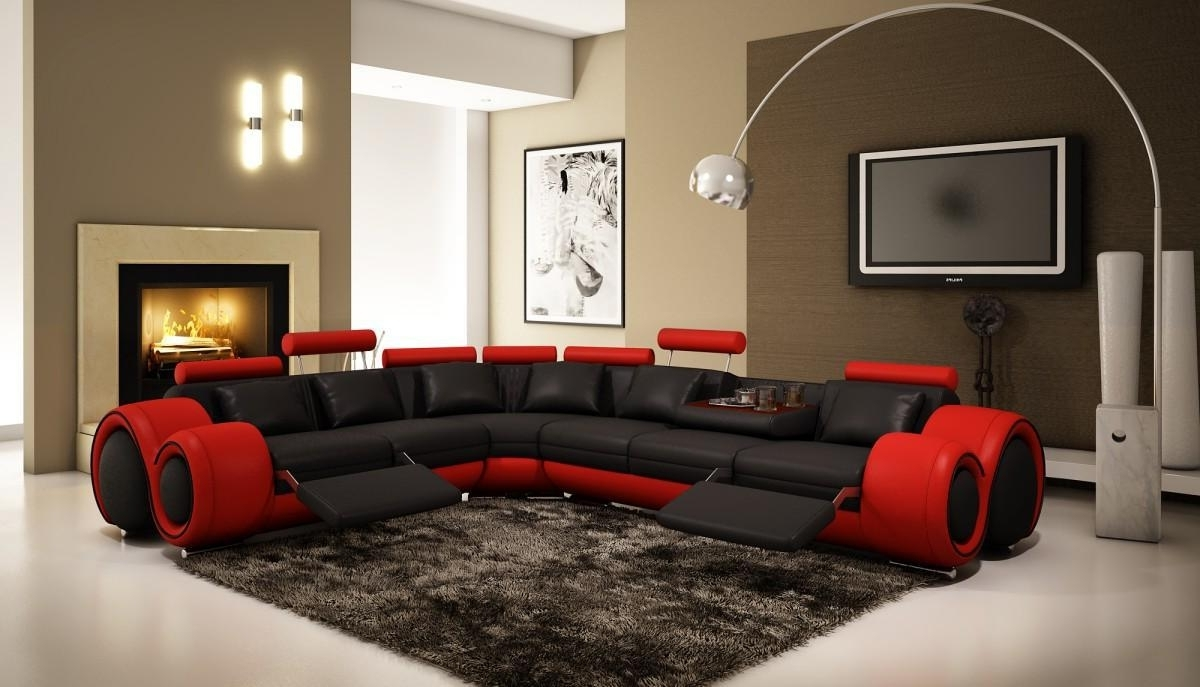 Divani Casa 4087 – Modern Leather Sectional Sofa Black Red Pertaining To Favorite Red Black Sectional Sofas (View 11 of 15)