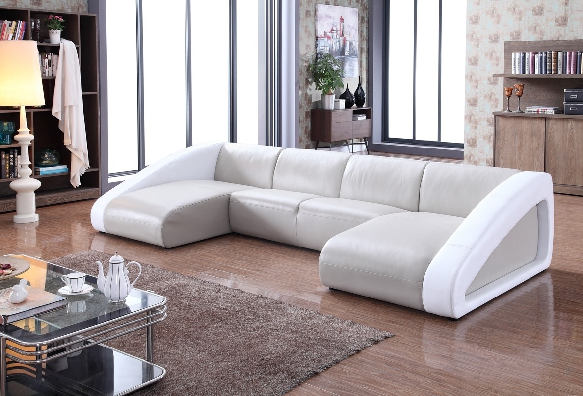 Divani Casa Pratt Modern Grey White Leather Sectional Sofa Curved In Popular Modern Sofas (View 3 of 15)