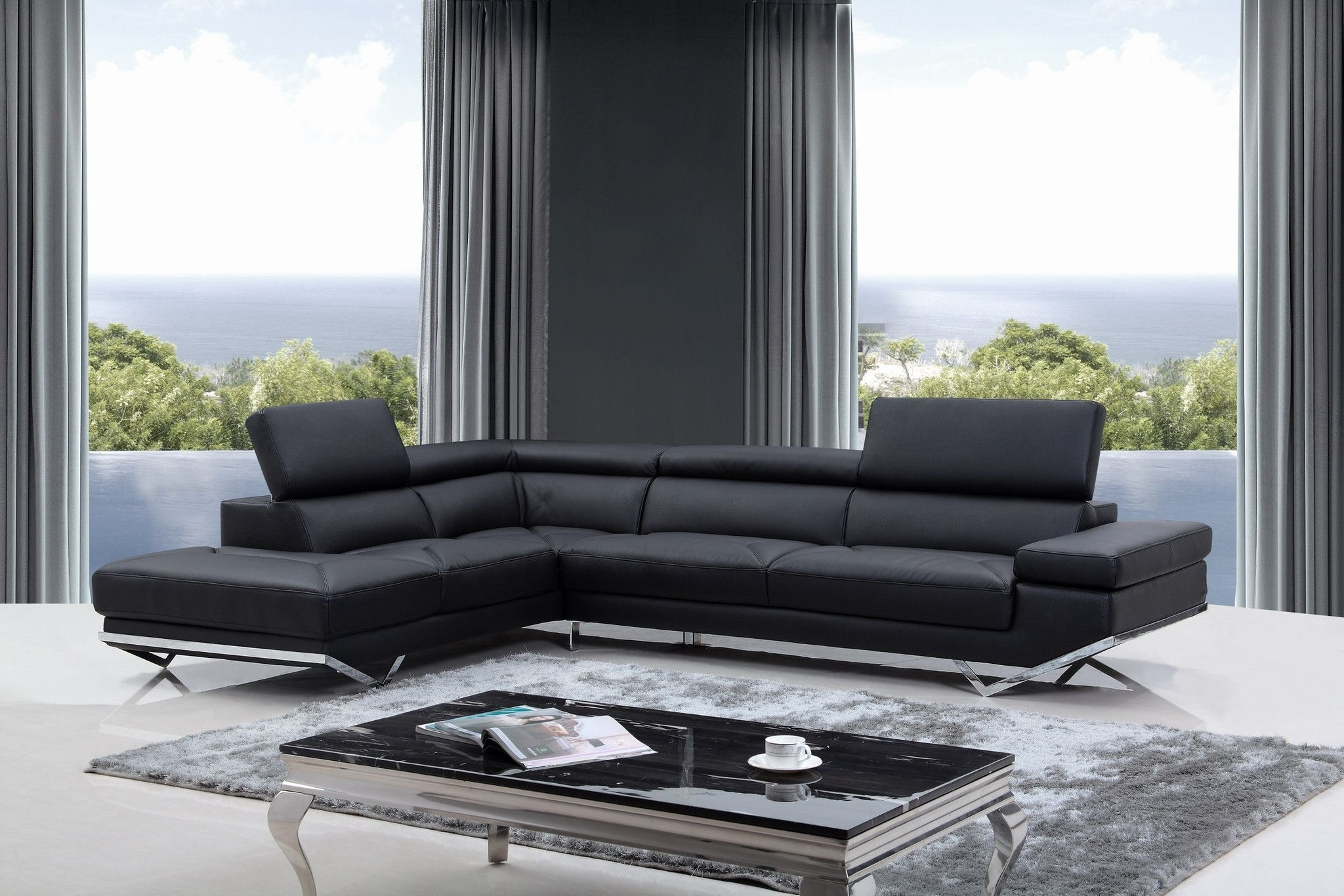 Divani Casa Quebec Modern Black Eco Leather Sectional Sofa (View 6 of 15)