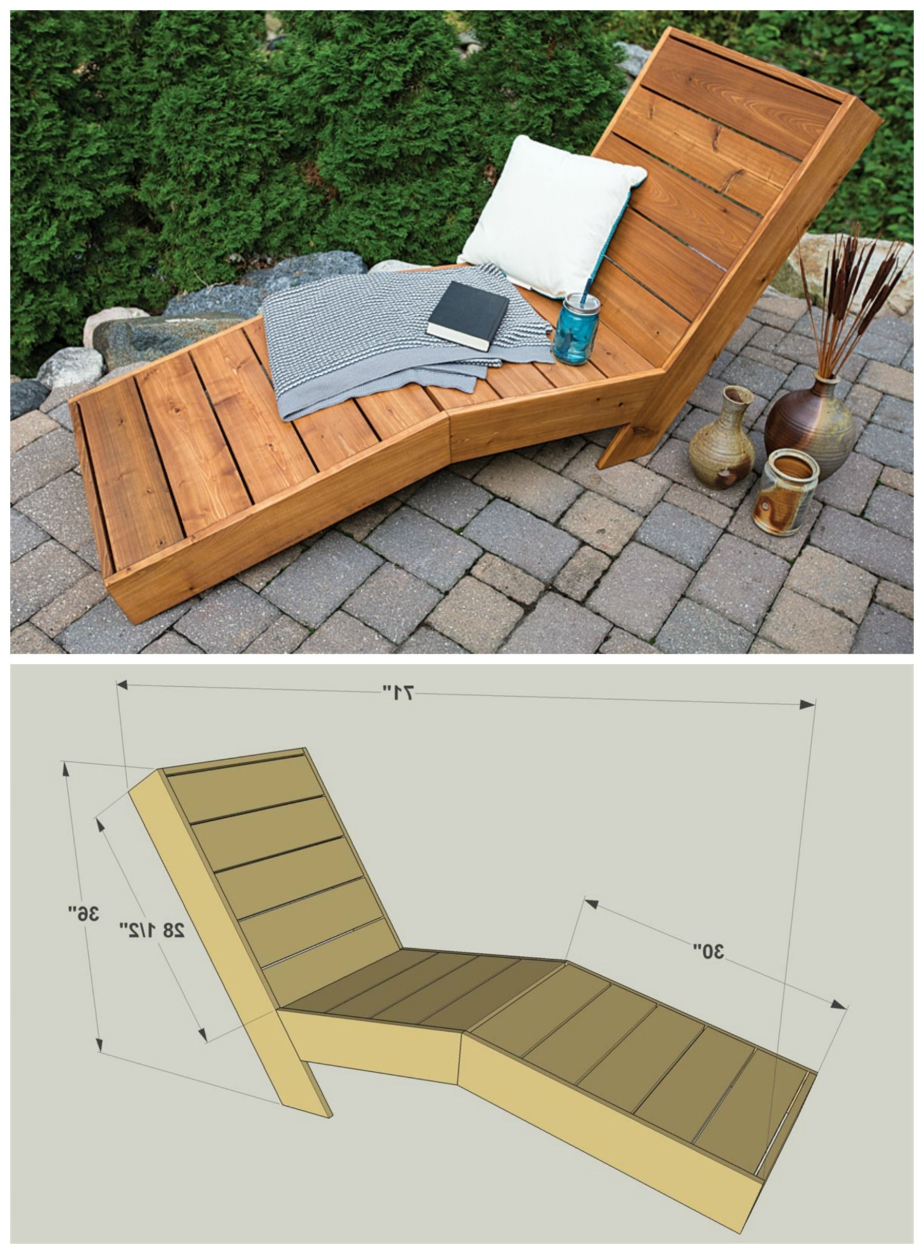 Diy Chaise Lounge Chairs Intended For Widely Used Diy Outdoor Chaise Lounge :: Free Plans At Buildsomething (View 5 of 15)