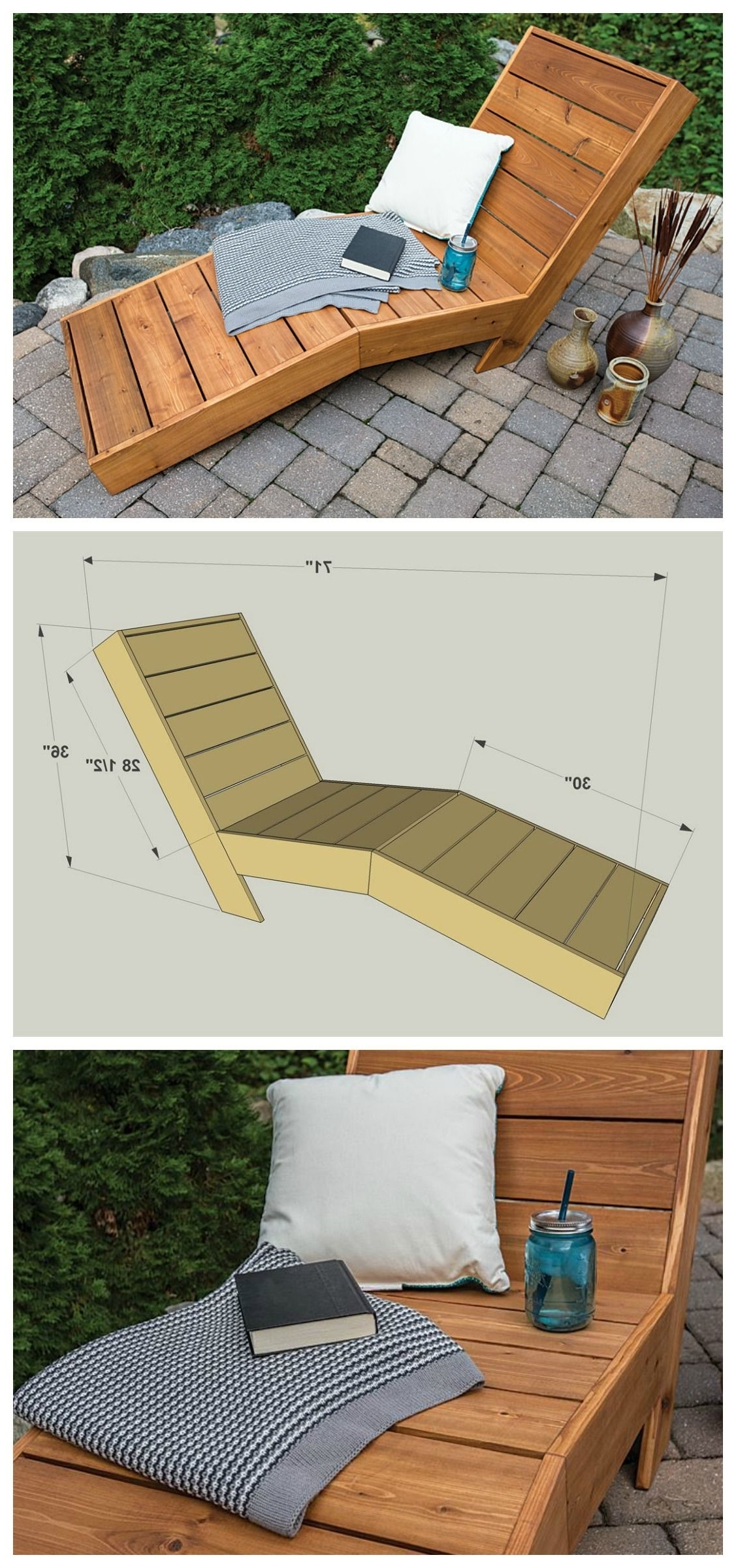 Diy Chaise Lounges Inside Newest Diy Outdoor Chaise Lounge :: Free Plans At Buildsomething (View 5 of 15)