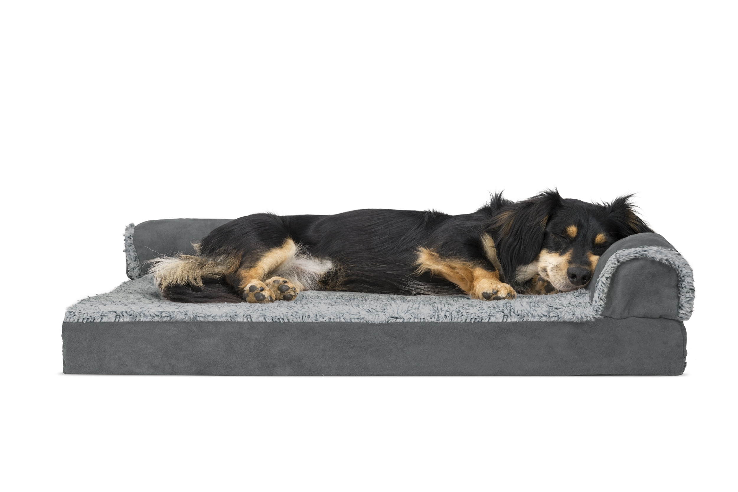 Dog Chaise Lounges Pertaining To Newest Two Tone Faux Fur & Suede Deluxe Chaise Lounge Orthopedic Sofa Pet (View 3 of 15)