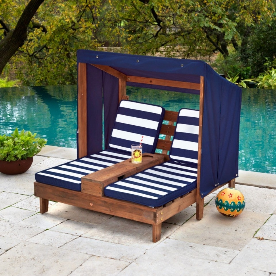 Double Chaise Lounge With Cup Holders  Espresso & Navy Regarding Favorite Kidkraft Double Chaise Lounges (View 9 of 15)