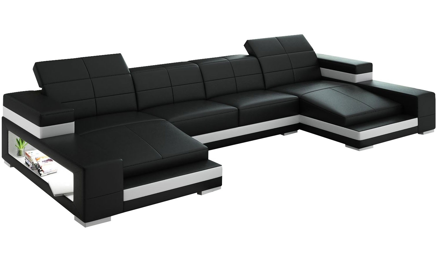 Double Leather Chaise Sectional With Ergonomic Back And Storage In With Regard To Preferred Dual Chaise Sectionals (View 13 of 15)