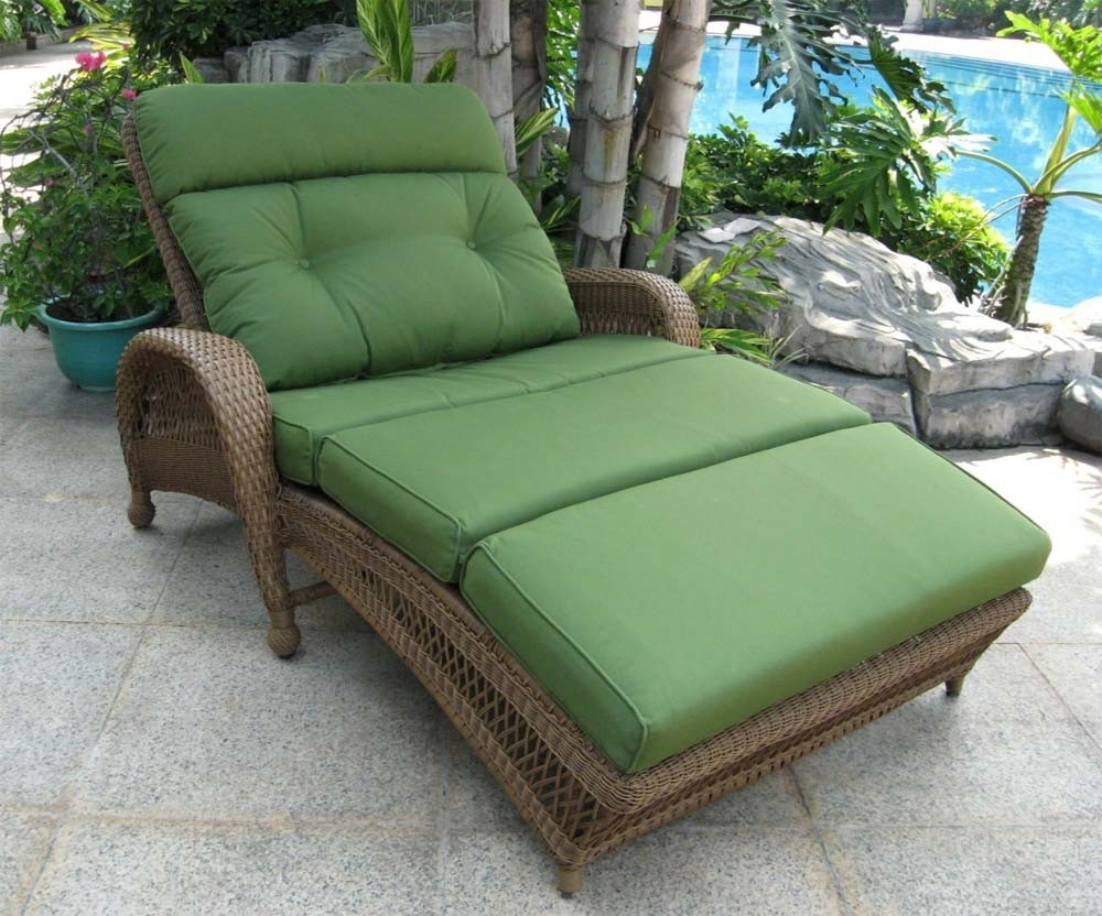 Doublechaiseloungeoutdoorfurnituregreen Outdoor Furniture Also Intended For Preferred Grey Wicker Chaise Lounge Chairs (View 15 of 15)