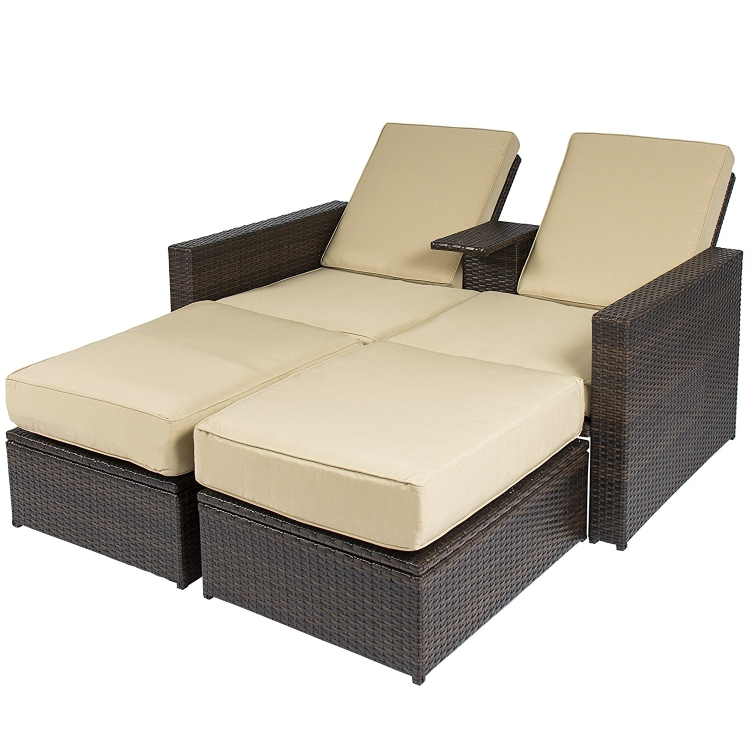 Dual Chaise Lounge Chairs For Current Amazon : Best Choice Products Outdoor 3Pc Rattan Wicker Patio (View 5 of 15)