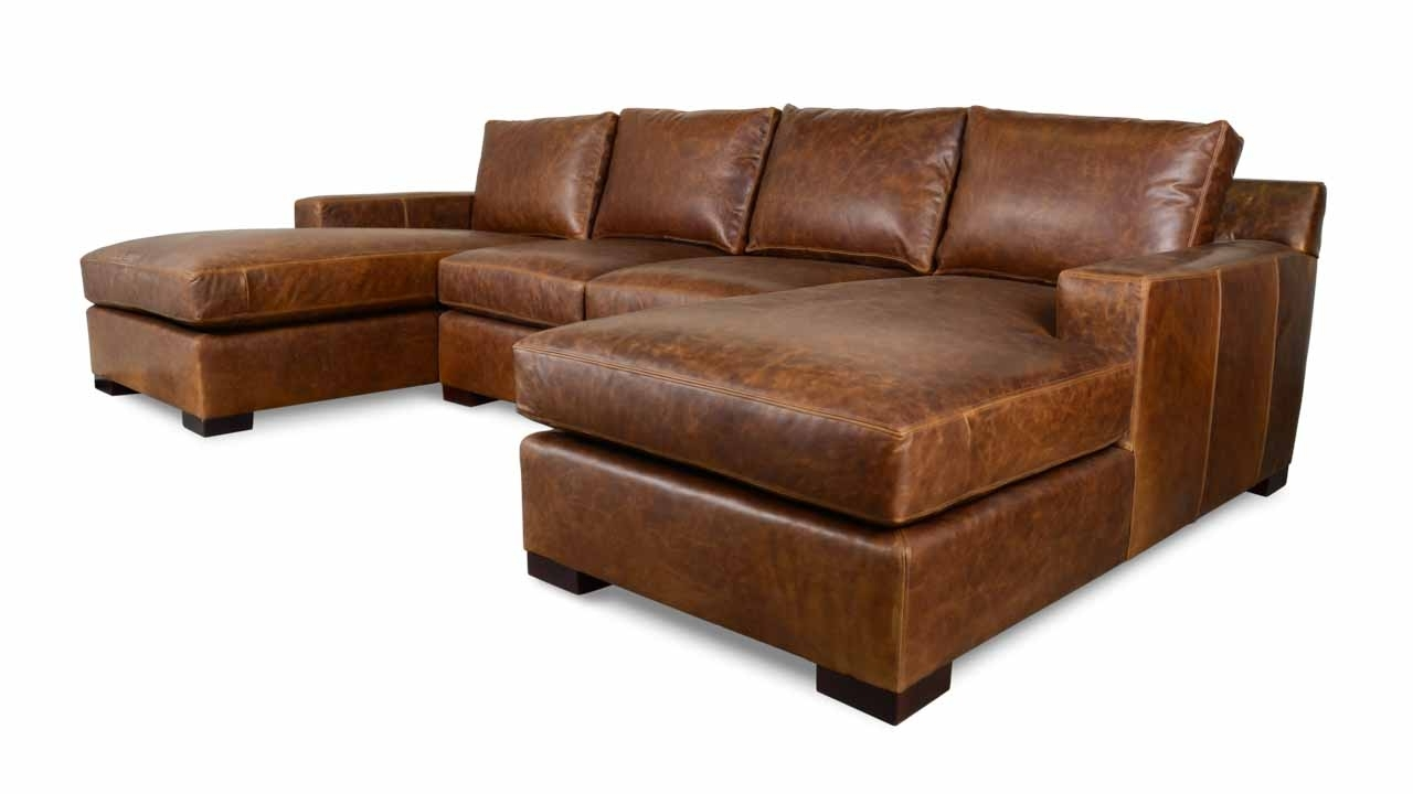 Durham Double Chaise Leather Sectional – Made In Usa Within Leather Sectional Chaises (View 5 of 15)