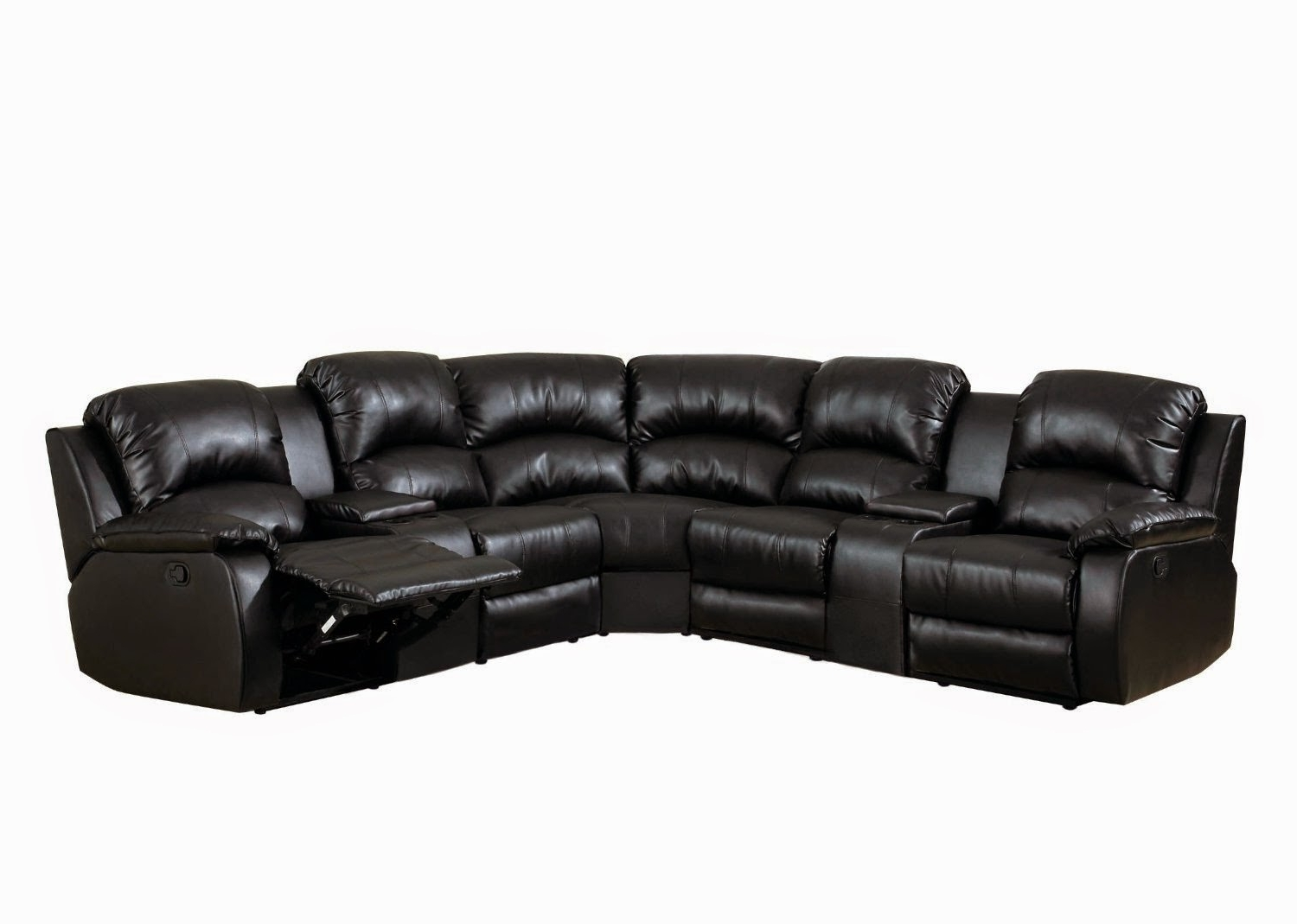 Economax Sectional Sofas In Well Known Black Leather Reclining Loveseat (View 14 of 15)