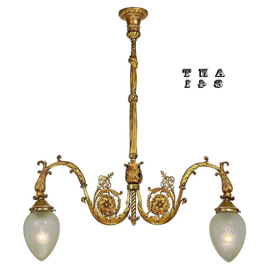 Edwardian Chandelier Regarding Famous Antique Brass 2 Arm Hall Pendant Light Neo Rococo Victorian (View 7 of 15)