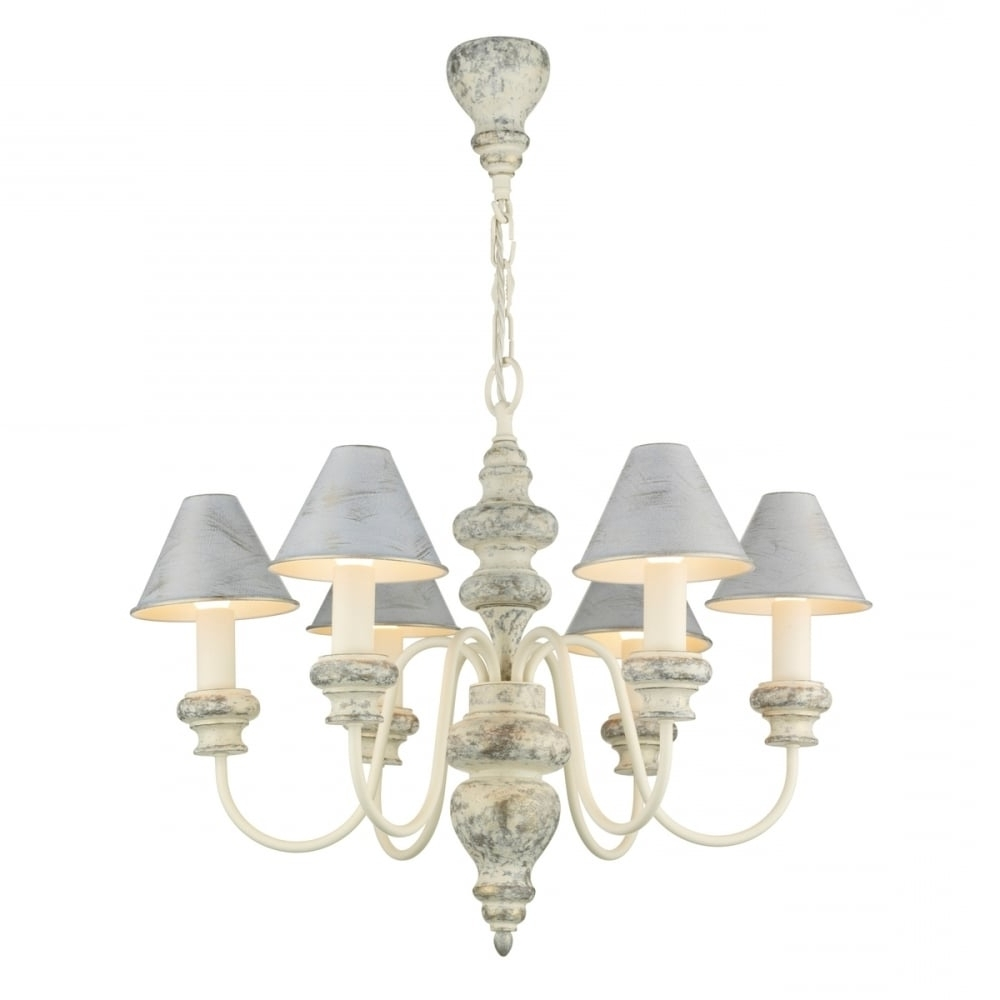 Edwardian Chandeliers With Regard To Well Known Distressed Cream Edwardian Chandelier With Matching Candle Shades (View 2 of 15)