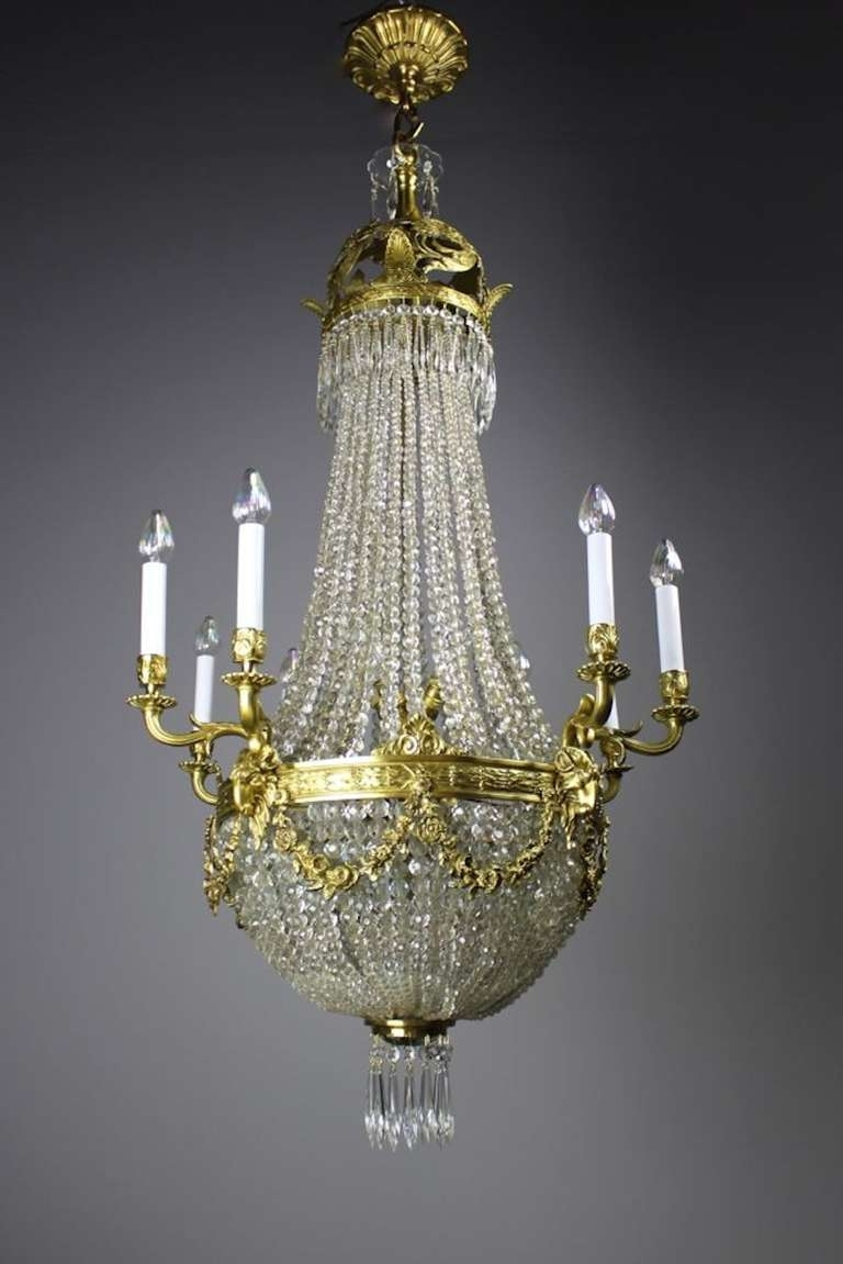 Edwardian Chandeliers within Trendy Edwardian White Cut-Crystal Basket Chandelier For Sale At 1Stdibs