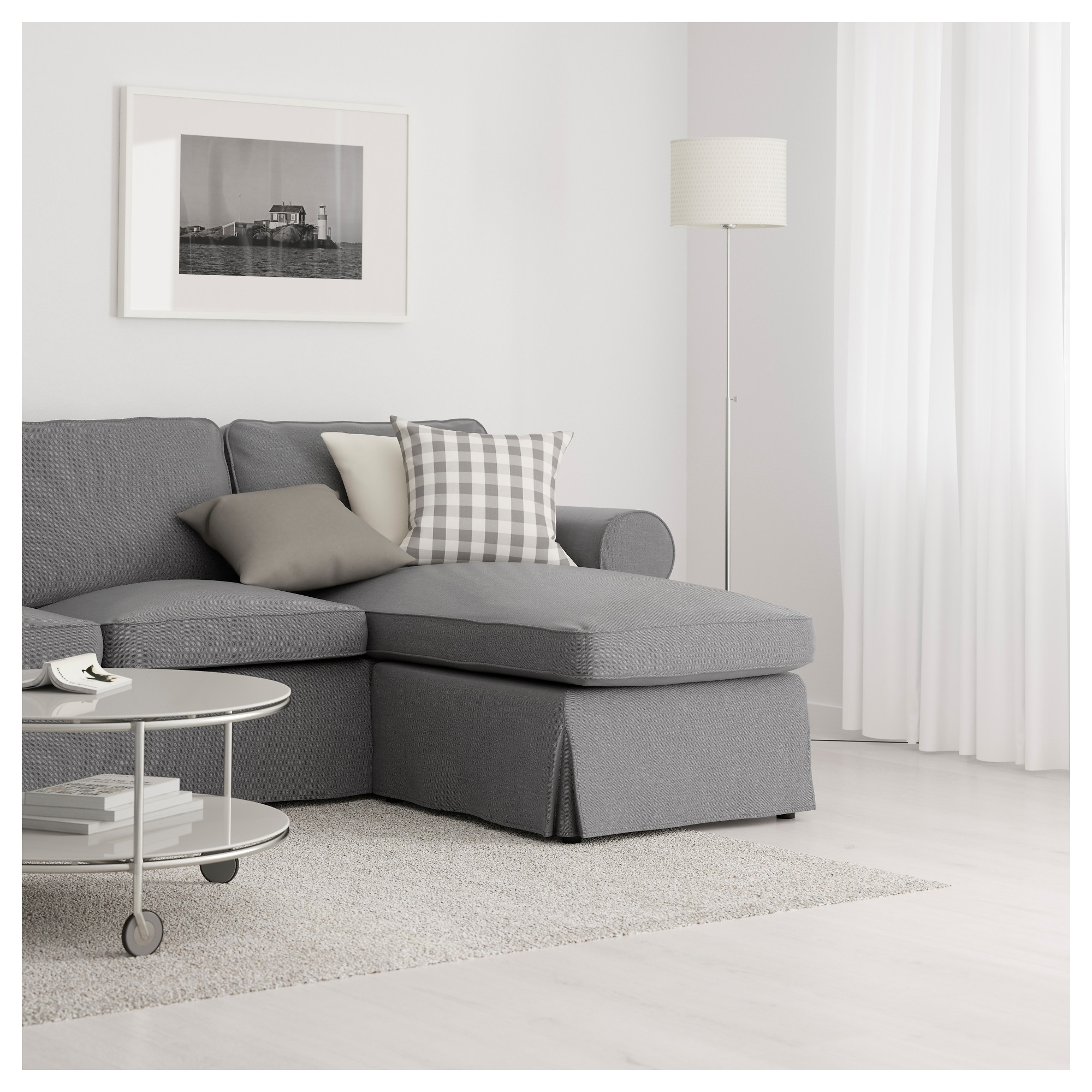 Ektorp 3 Seat Sofa With Chaise Longue/nordvalla Dark Grey – Ikea In Preferred Ektorp Chaises (View 11 of 15)