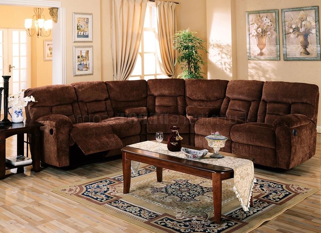 El Dorado Sectional Sofas Intended For Recent Brown Chennile Fabric Sectional Sofa W/recliner Seat (View 4 of 15)