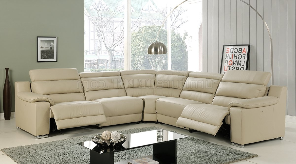 Elda Reclining Sectional Sofa In Beige Leatherat Home Usa Pertaining To 2017 Leather Recliner Sectional Sofas (View 2 of 15)