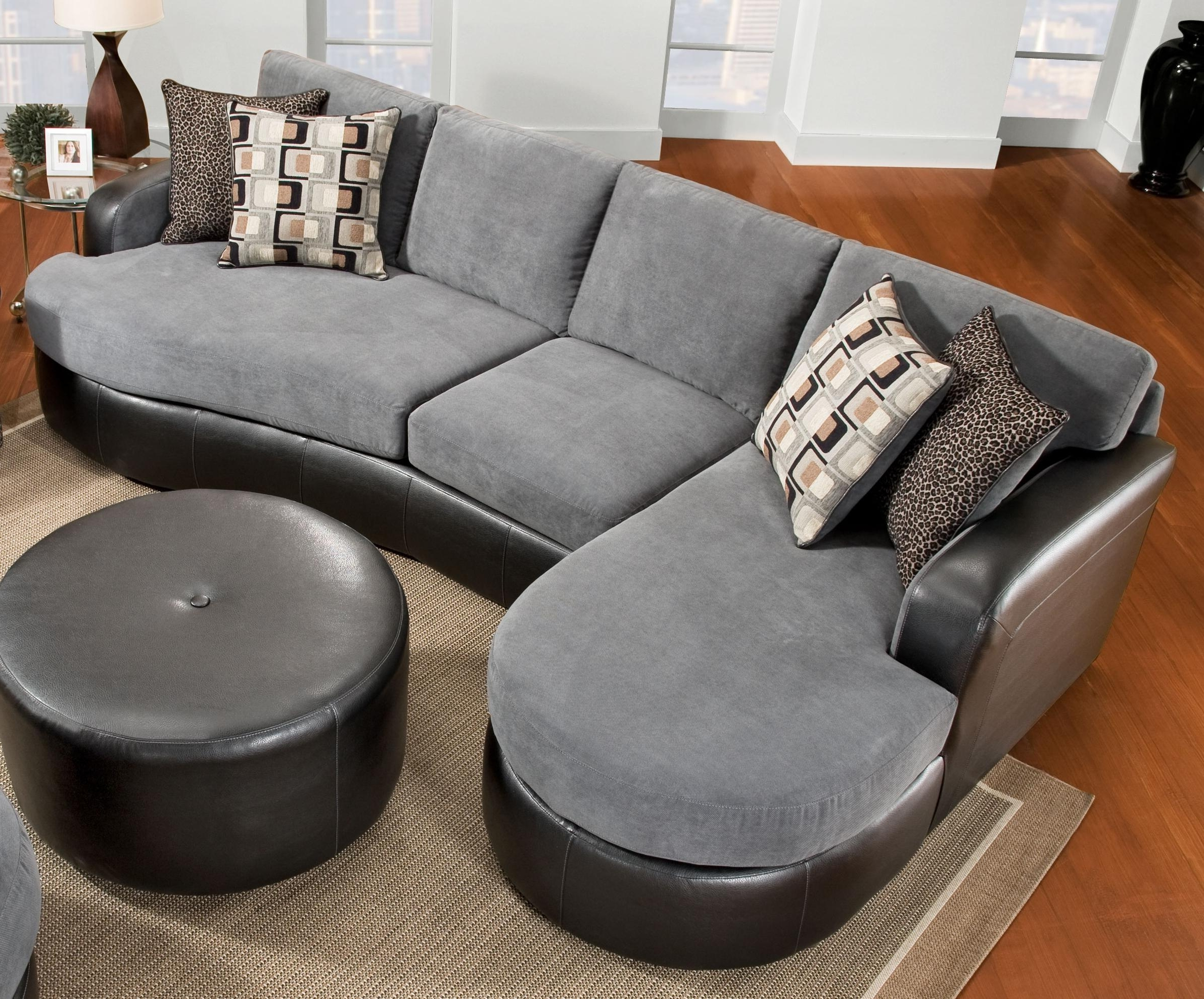 Elegant Chic Gray Velvet And Black Leather Sectional Sofa With F With Regard To Favorite Sofas With Chaise And Ottoman (View 15 of 15)