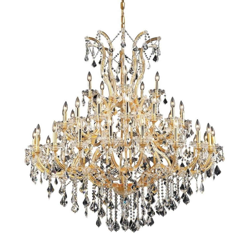 Elegant Lighting 41 Light Gold Chandelier With Clear Crystal With Trendy Crystal Gold Chandeliers (View 5 of 15)