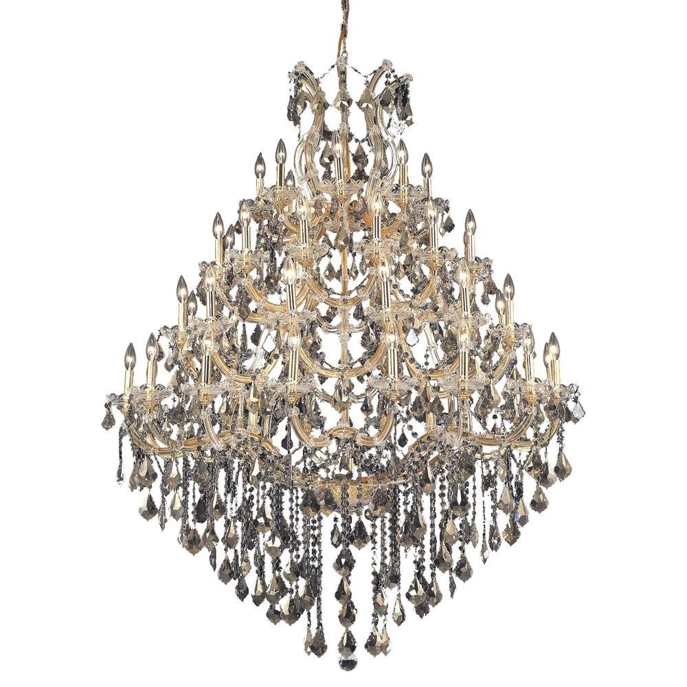 Elegant Lighting 49 Light Gold Chandelier With Golden Teak, Smoky In Most Recently Released Crystal Gold Chandeliers (View 14 of 15)