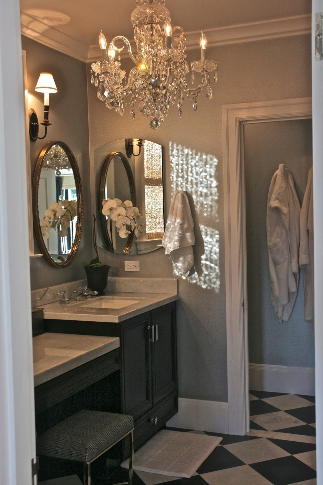Elegant Retreat. . .oval Mirror Framed In Cherry, Silvery Blue On Throughout Current Bathroom Lighting Chandeliers (Gallery 9 of 15)