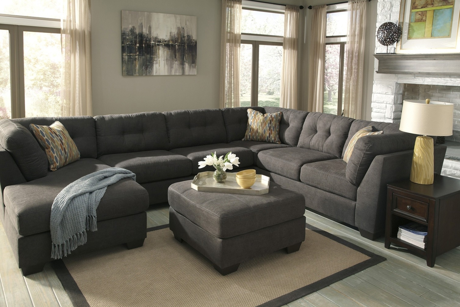 Elk Grove Ca Sectional Sofas Inside Current Delta City Steel 3 Piece Sectional Sofa With Right Arm Facing (View 11 of 15)