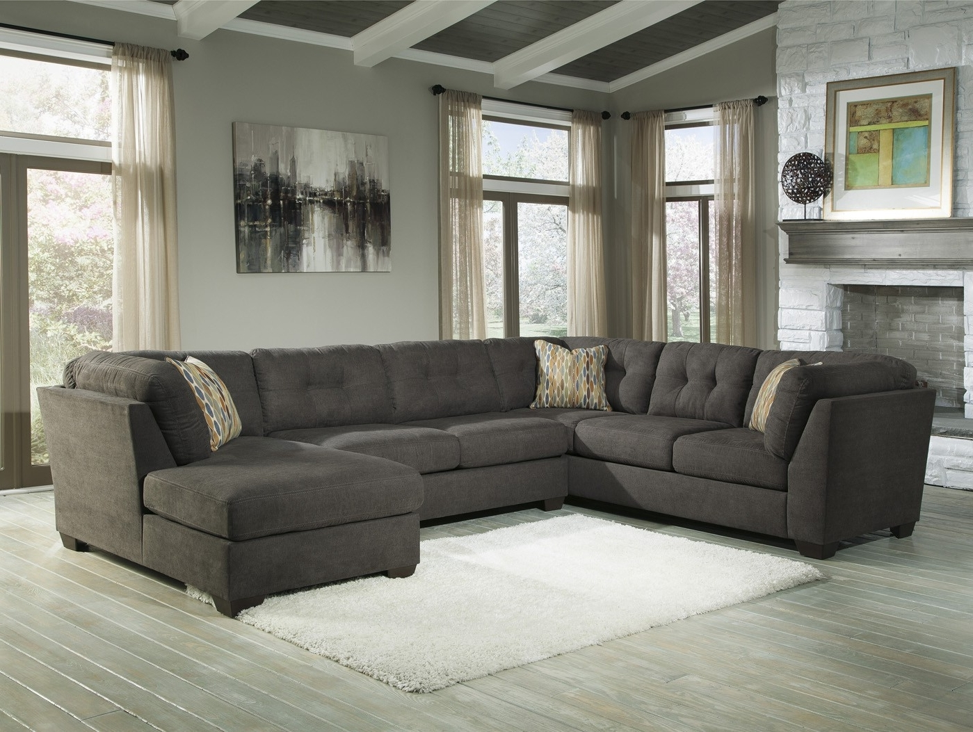 Elk Grove Ca Sectional Sofas Regarding Most Popular Delta City Steel 3 Piece Sectional Sofa With Right Arm Facing (View 7 of 15)