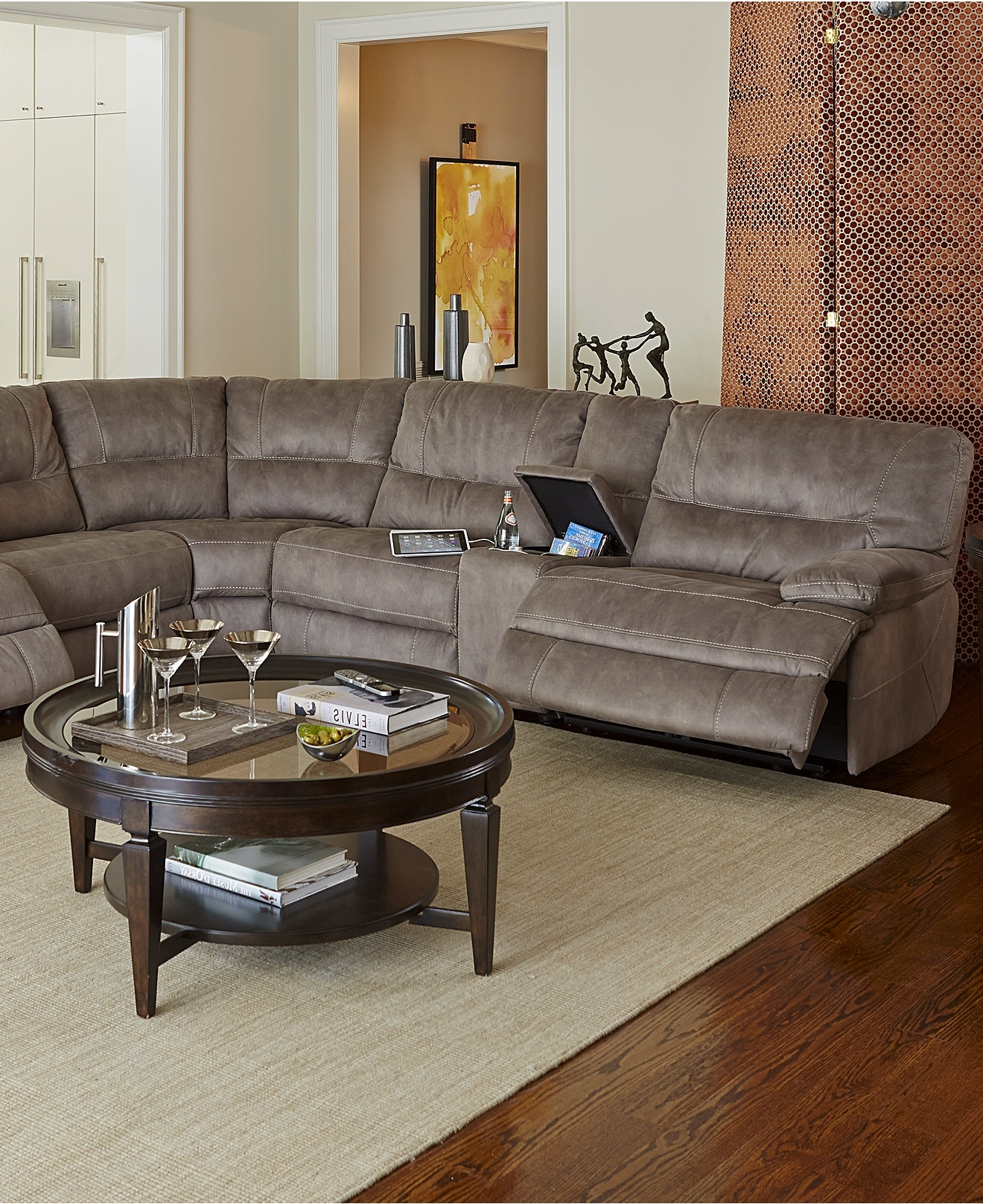 Elliot Fabric Microfiber Sectional Sofa 3 Piece Microfiber Regarding Famous Macys Leather Sectional Sofas (View 13 of 15)