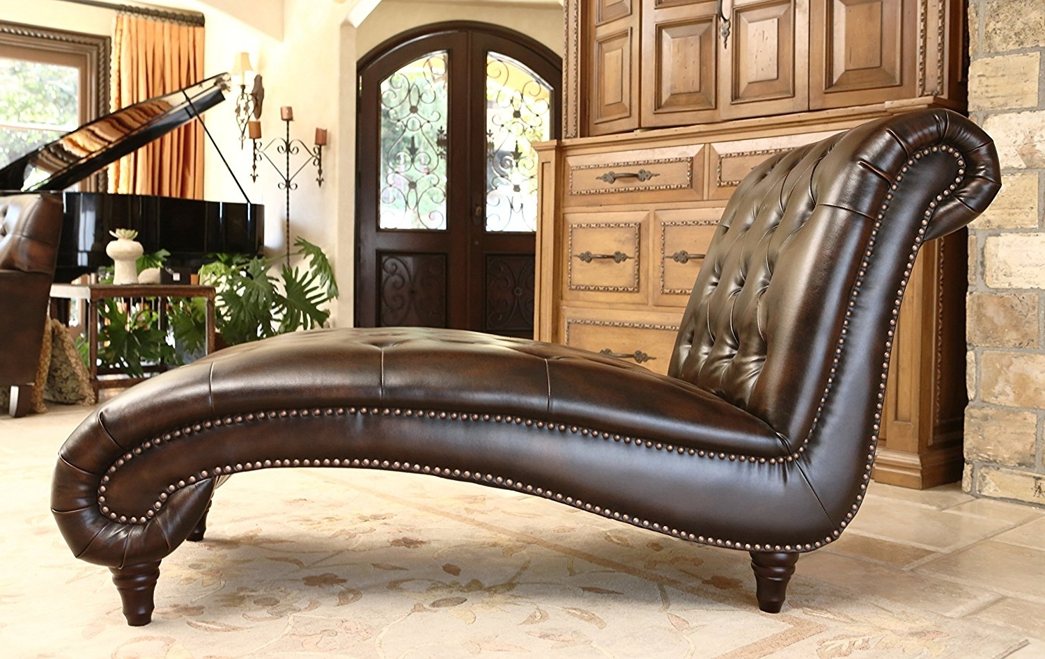Emily Chaise Lounges With Current Amazon: Abbyson Mirabello Hand Rubbed Leather Chaise: Home (View 9 of 15)