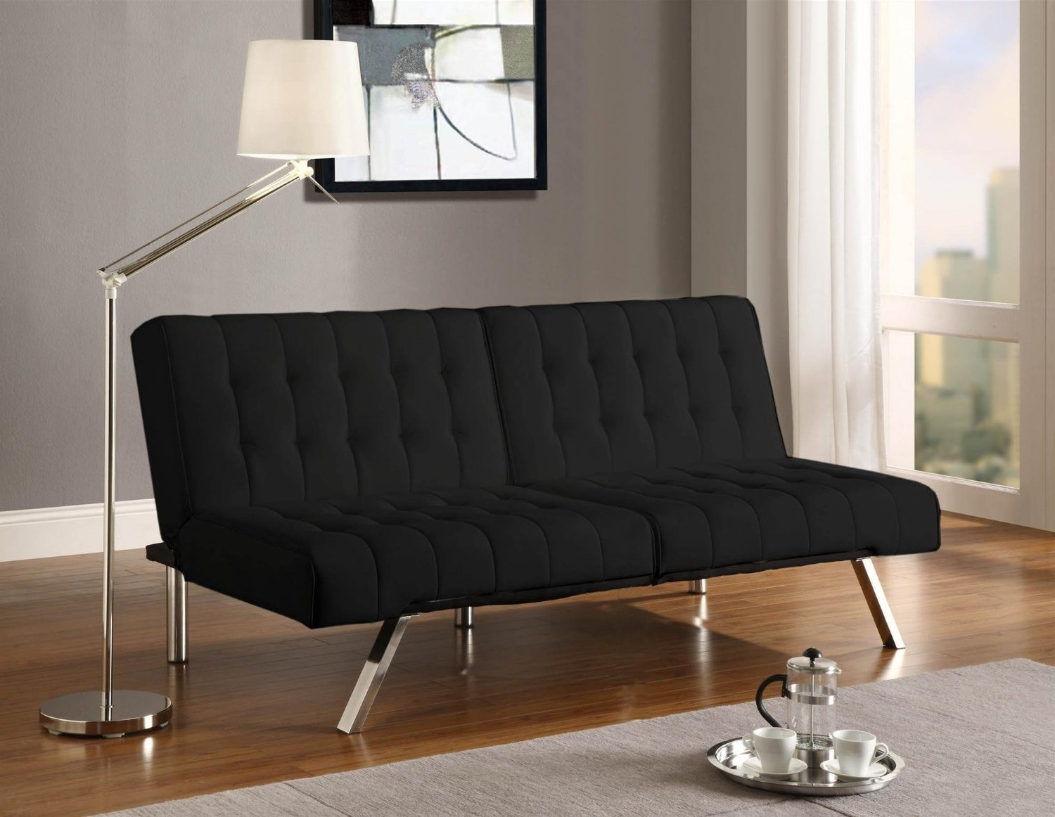 Emily Futon Chaise Loungers With Regard To 2017 Amazon: Emily Futon With Chaise Lounger Super Bonus Set Black (View 13 of 15)