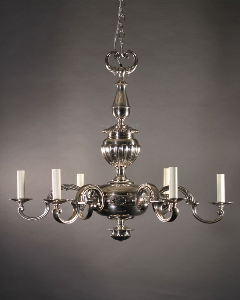 English_Edwardian_Chandelier_In_Silver_Plate with regard to Widely used Edwardian Chandeliers