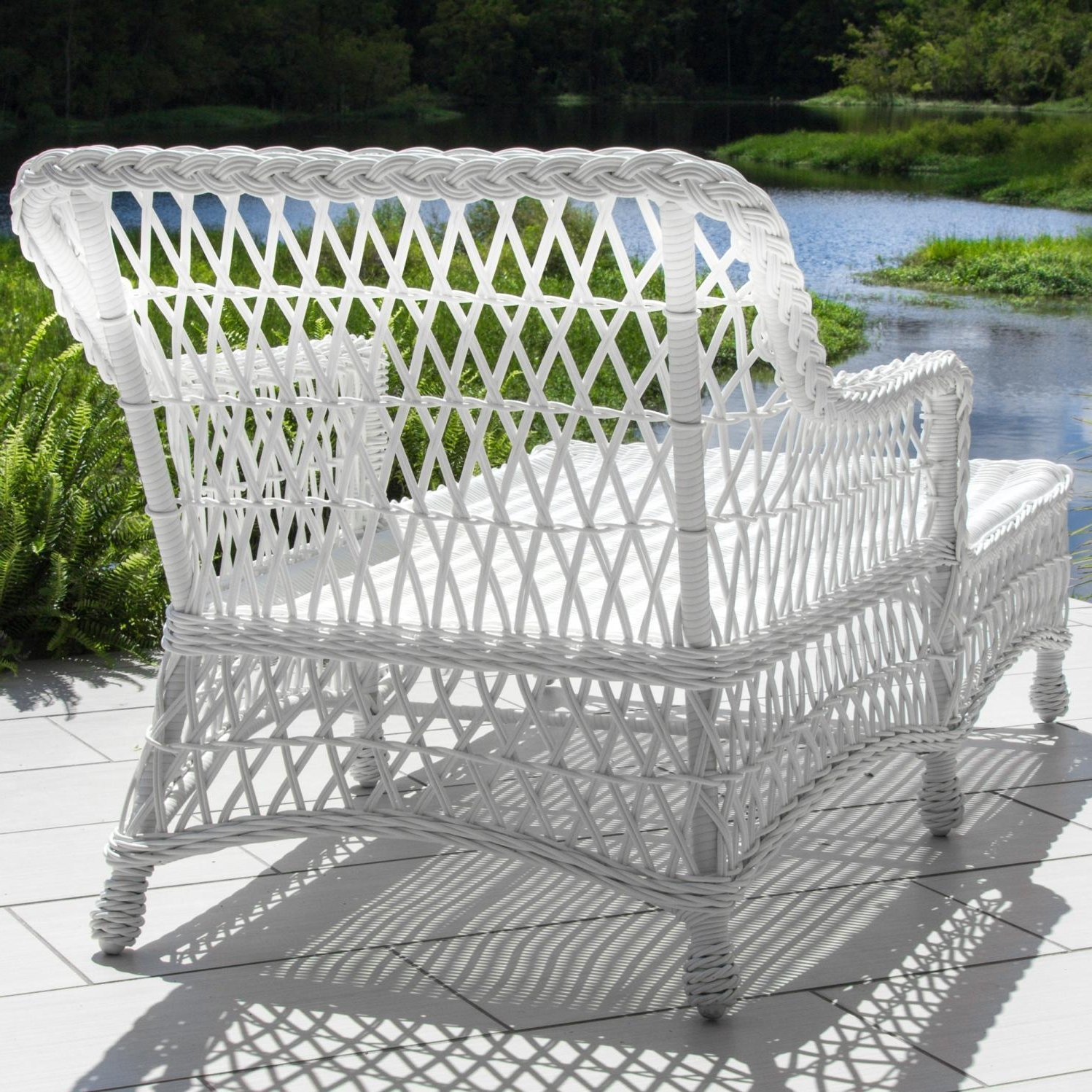 Everglades White Resin Wicker Patio Chaise Loungelakeview For Most Up To Date White Wicker Chaise Lounges (View 6 of 15)