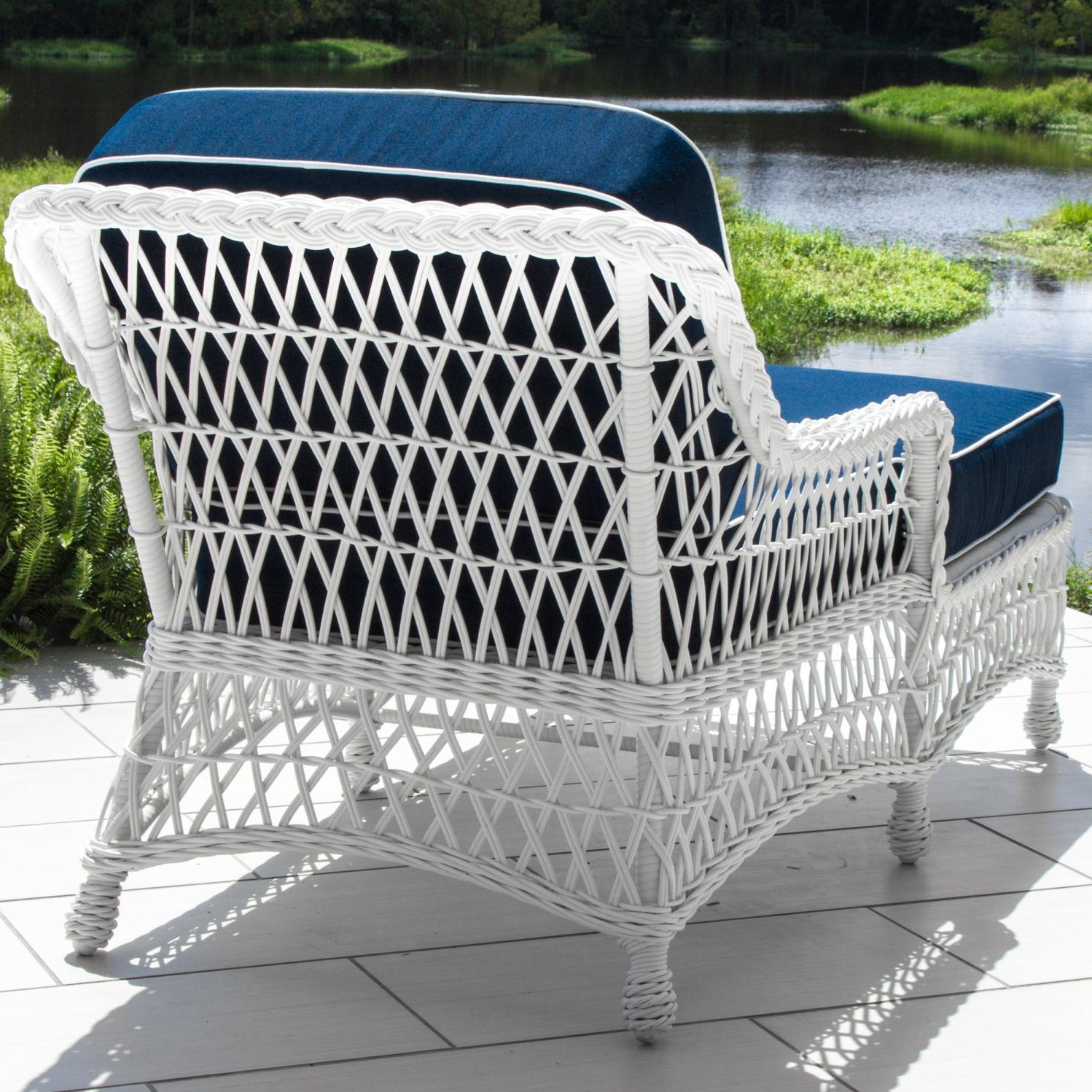 Everglades White Resin Wicker Patio Chaise Loungelakeview Intended For Well Known White Wicker Chaise Lounges (View 2 of 15)