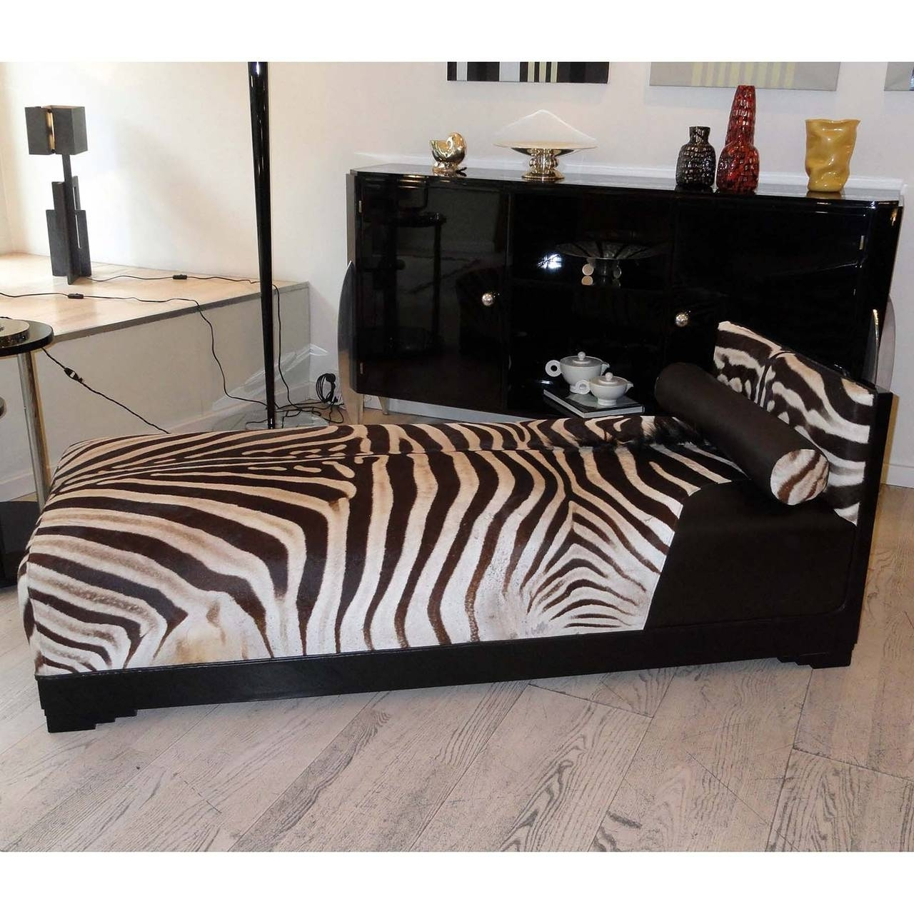 Exquisite Art Deco French Chaise Longue With Zebra Skin For Sale Intended For Newest Zebra Chaise Lounges (View 14 of 15)