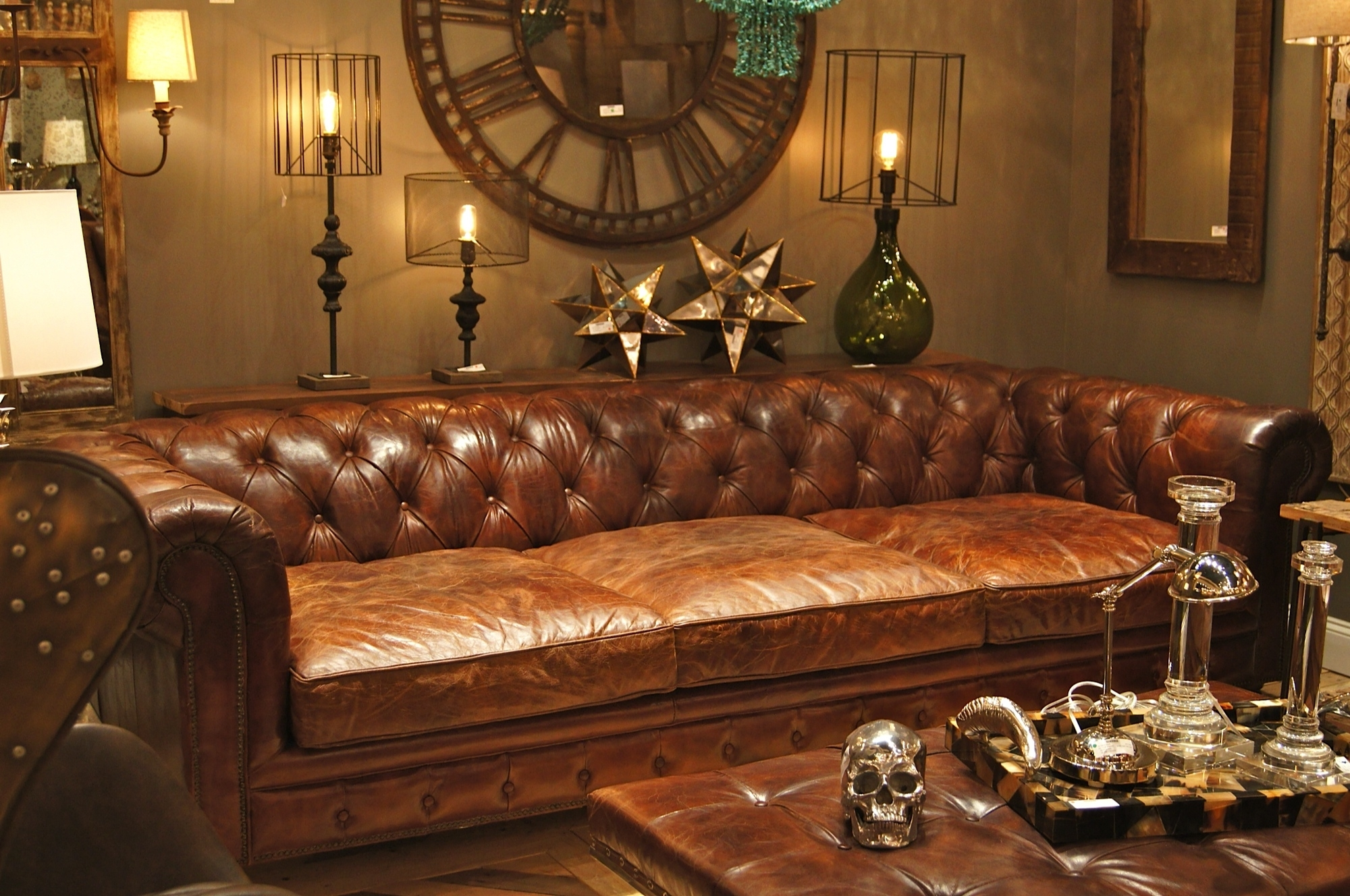 Extra Deep Chesterfield Sofa In Antique Brown Finish Plus Tufted Pertaining To Recent Deep Cushion Sofas (View 9 of 15)