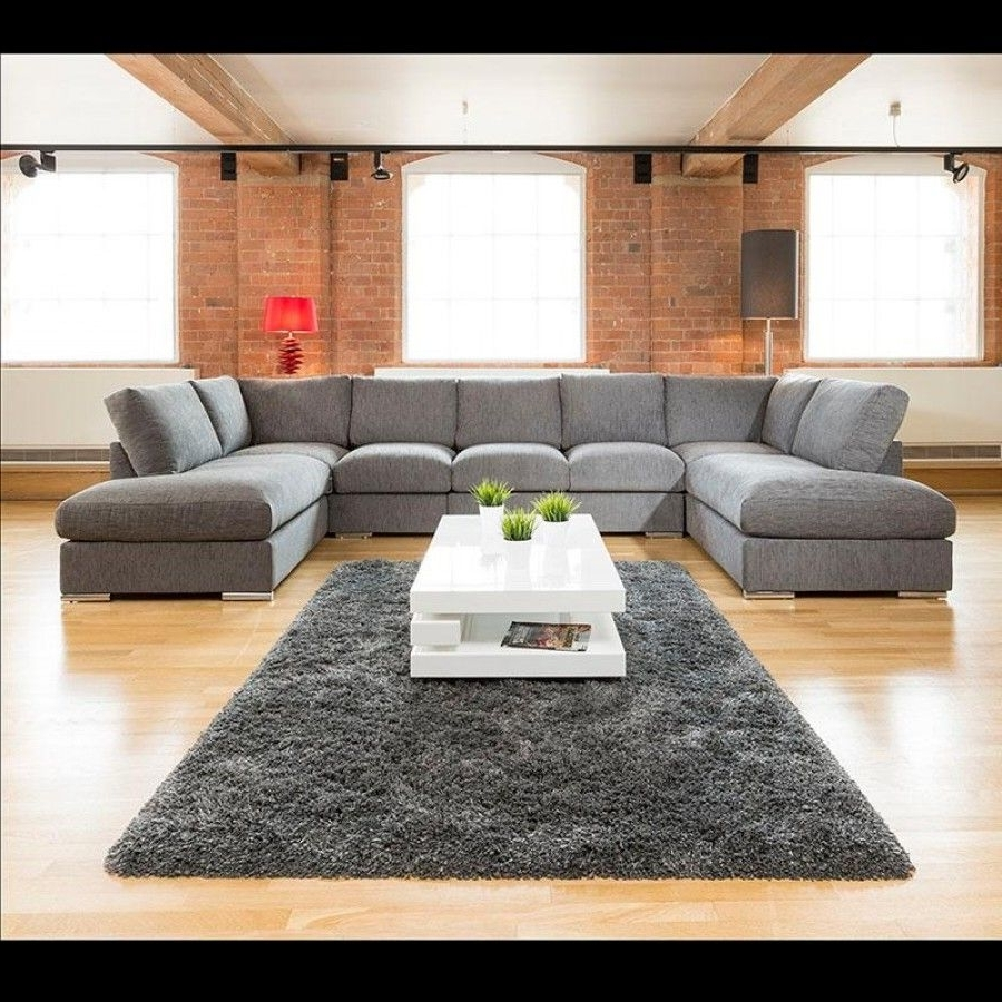 Extra Large New Sofa Set Settee Corner Group U Shape Grey  (View 4 of 15)