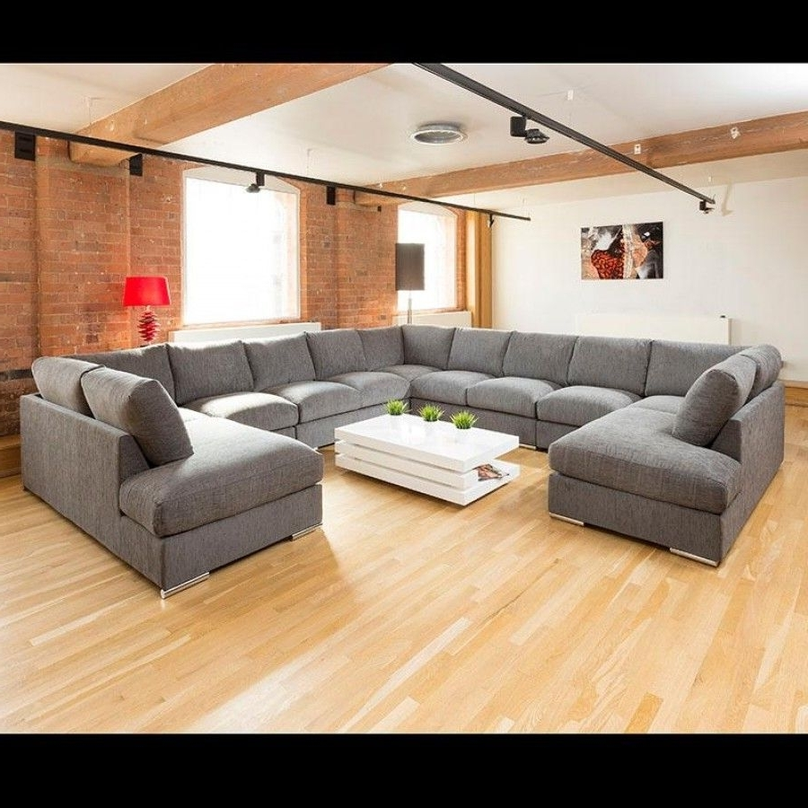 Extra Large Unique Sofa Set Settee Corner Group C Shape Grey (View 14 of 15)
