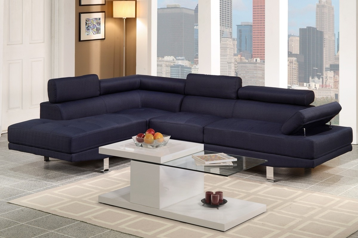 Fabric Sectional Sofas In Newest F7569 Sectional Sofa In Blue Linen Fabric (View 3 of 15)