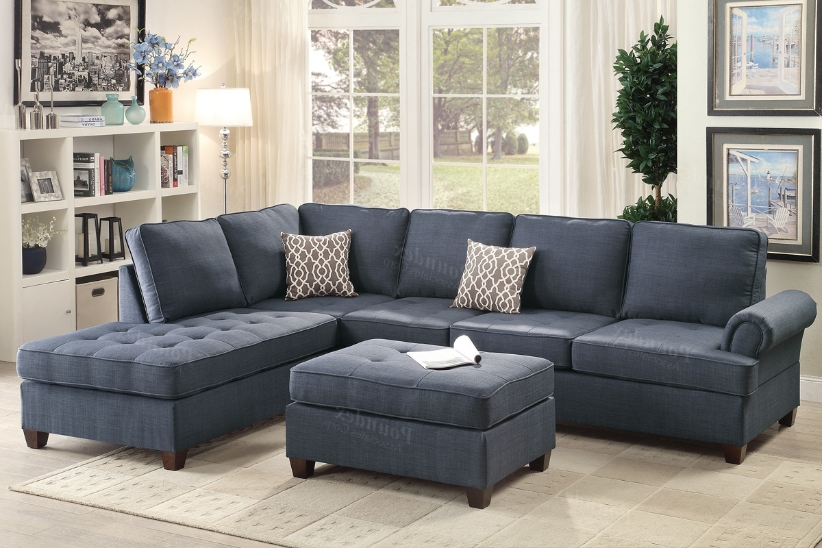 Fabric Sectional Sofas Throughout Most Recent Blue Fabric Sectional Sofa – Steal A Sofa Furniture Outlet Los (View 6 of 15)