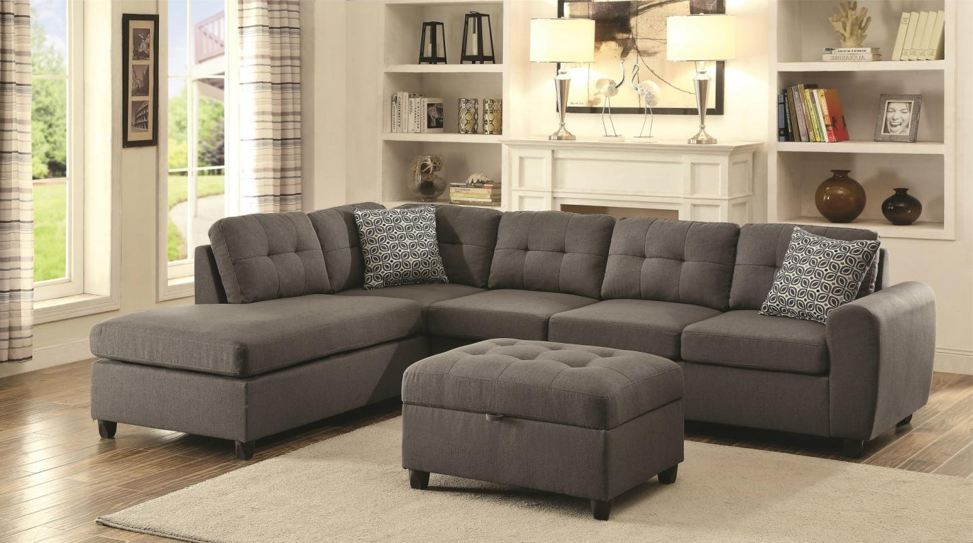 Fabric Sectional Sofas With Chaise For Fashionable Stonenesse Grey Fabric Sectional Sofa – Steal A Sofa Furniture (View 5 of 15)