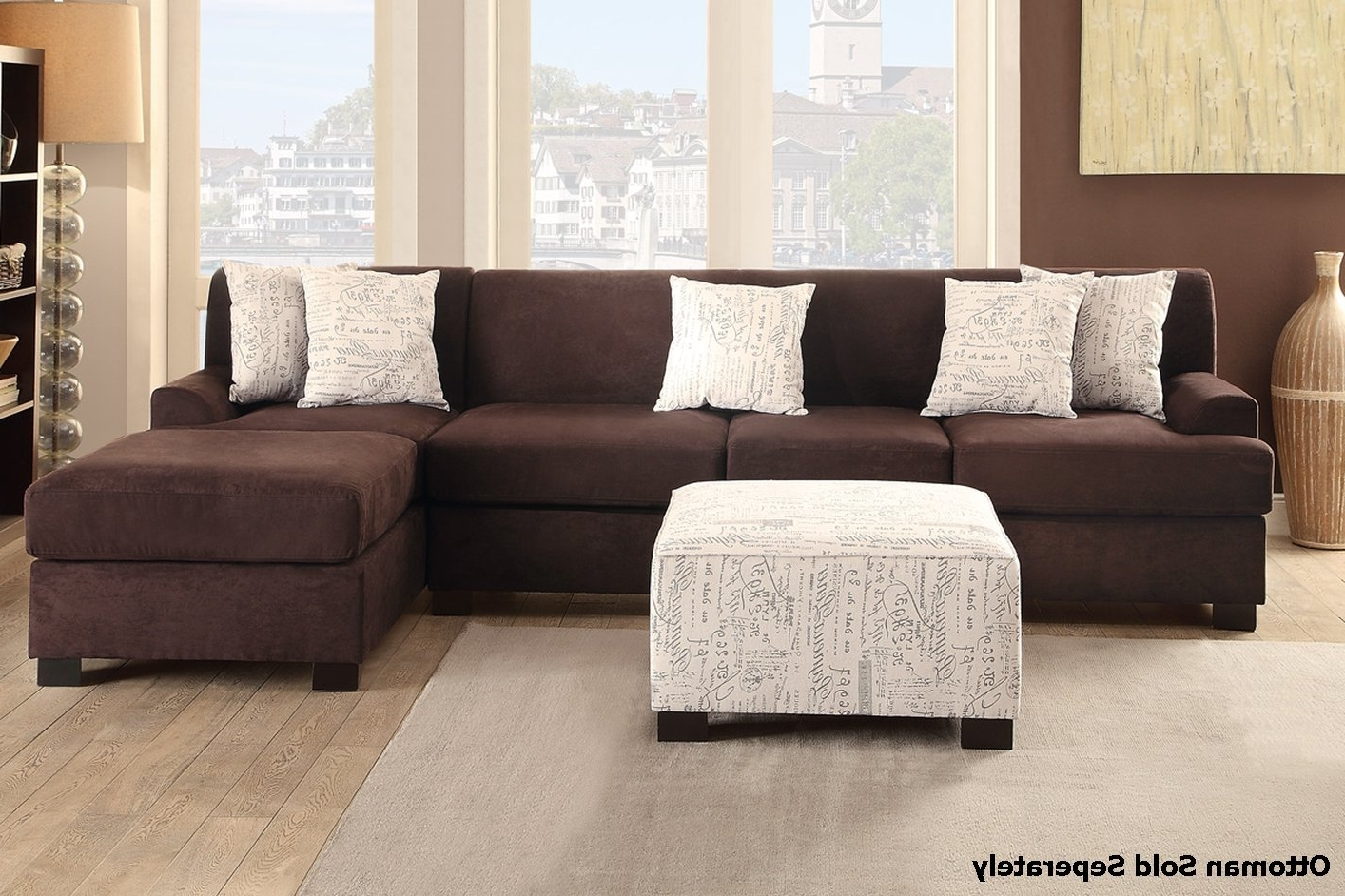 Fabric Sectional Sofas With Chaise With 2017 Nia Brown Fabric Sectional Sofa – Steal A Sofa Furniture Outlet (View 9 of 15)