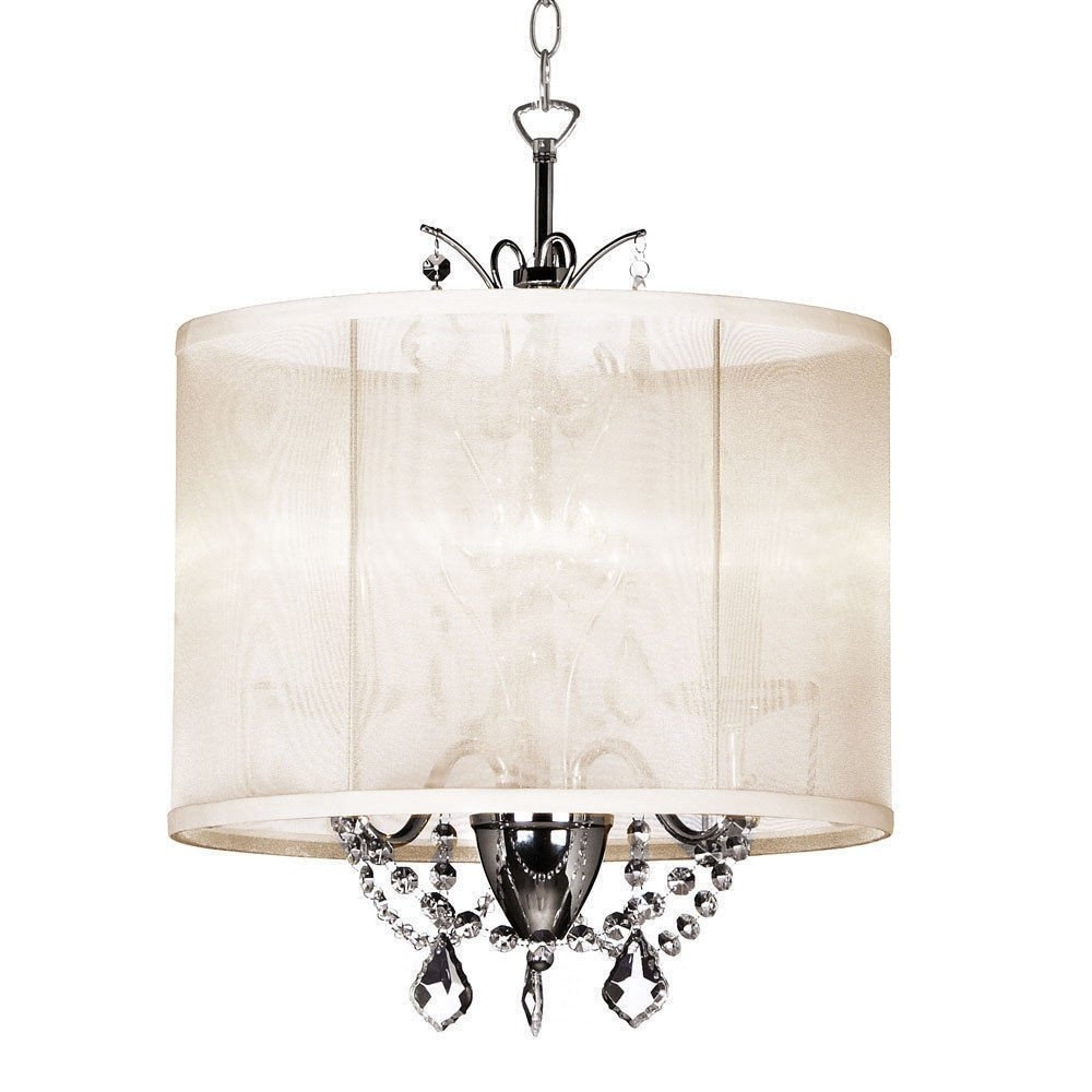 Famous 14 Inch Cream 3 Light Mini Crystal Chandelier White Silk Intended For Cream Crystal Chandelier (View 1 of 15)